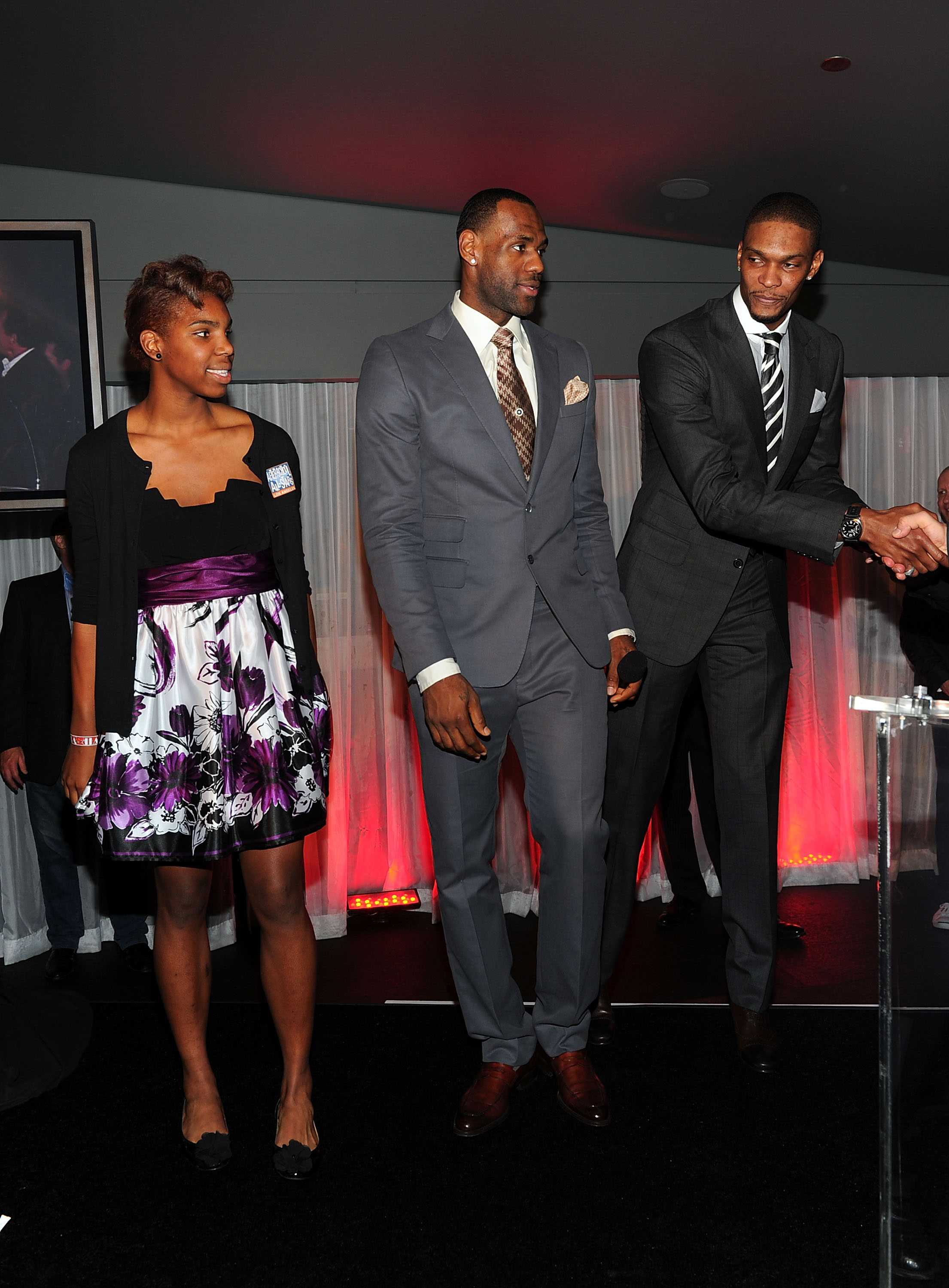 LOS ANGELES, CA - FEBRUARY 18:  Reshanda Gray, LeBron James of the Miami Heat and NBA player Chris Bosh of the Miami Heat attend After-School All-Stars (ASAS) Hoops Heroes Salute VIP after party at Katsuya, LA Live on February 18, 2011 in Los Angeles, California.  (Photo by Alberto E. Rodriguez/Getty Images for ASAS)