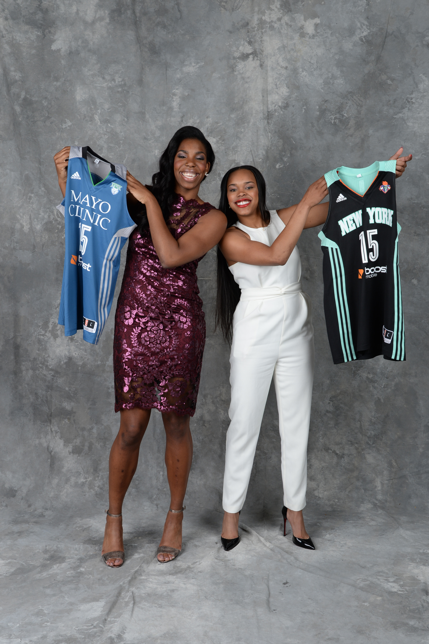 UNCASVILLE, CT - APRIL 16:  The number nine overall pick Brittany Boyd of the New York Liberty and the number sixteen overall pick Reshanda Gray of the Minnesota Lynx poses for a portrait during the 2015 WNBA Draft Presented By State Farm on April 16, 2015 at Mohegan Sun Arena in Uncasville, Connecticut.  NOTE TO USER: User expressly acknowledges and agrees that, by downloading and/or using this Photograph, user is consenting to the terms and conditions of the Getty Images License Agreement. Mandatory Copyright Notice: Copyright 2015 NBAE  (Photo by Jennifer Pottheiser/NBAE via Getty Images)