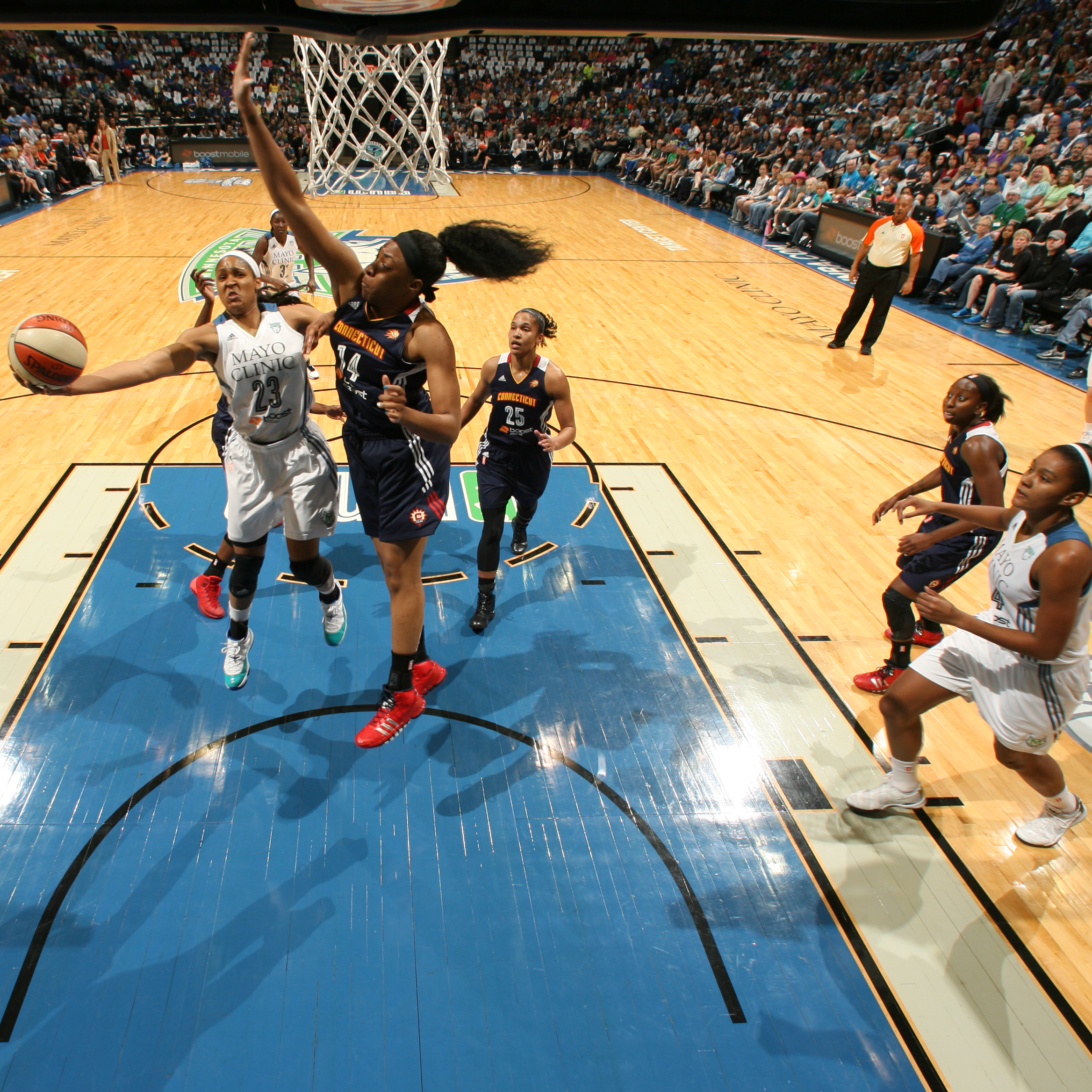 2014's Home-Opener: Lynx forward Maya Moore had a monster game against the Sun leading all scorers with 33 points to go with her 12 rebounds, two assists and five steals.