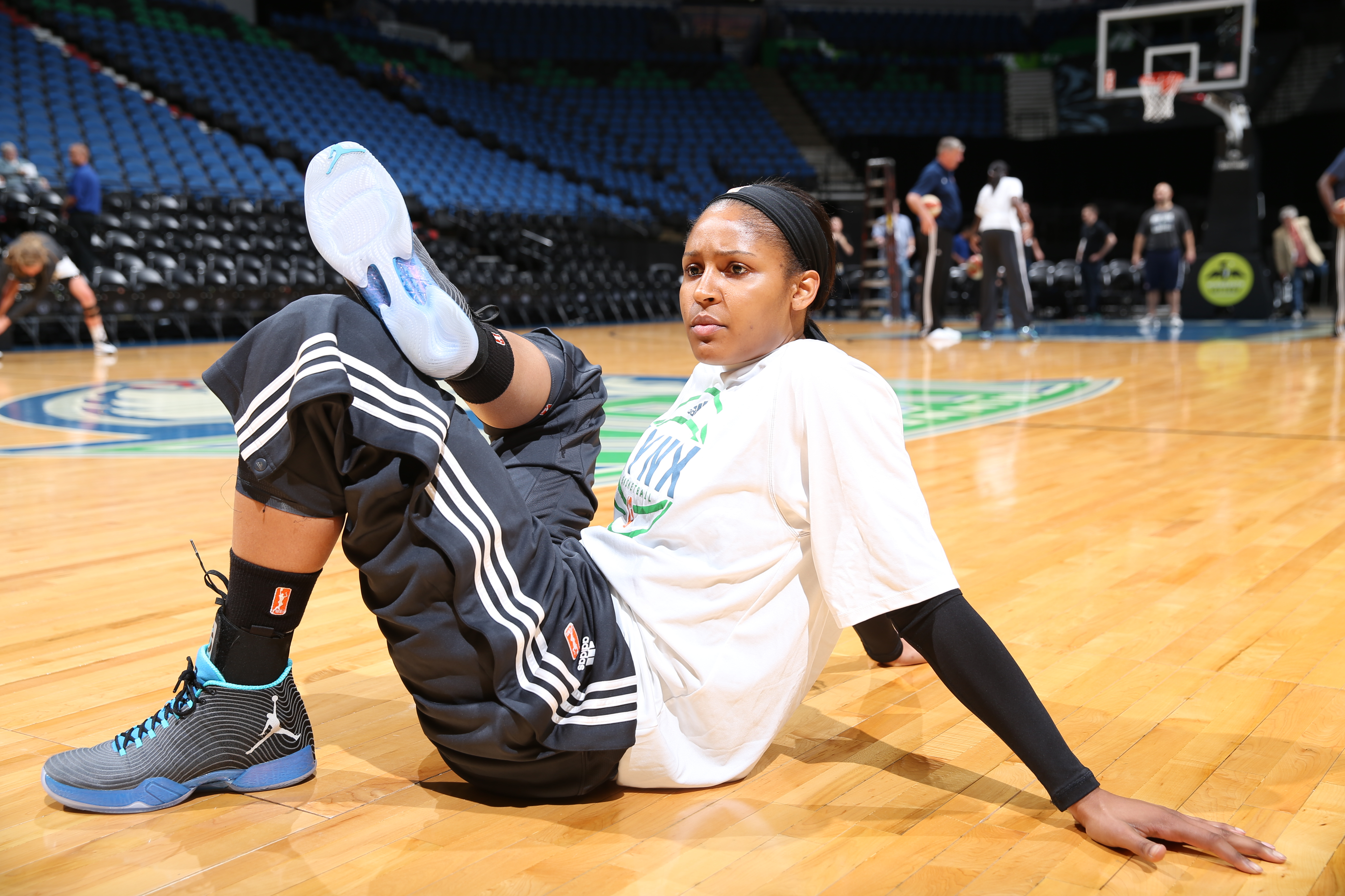 MINNEAPOLIS, MN - JUNE 1:  Maya Moore #23 of the Minnesota Lynx warms up before playing against the New York Liberty on June 1, 2015 at Target Center in Minneapolis, Minnesota. NOTE TO USER: User expressly acknowledges and agrees that, by downloading and or using this Photograph, user is consenting to the terms and conditions of the Getty Images License Agreement. Mandatory Copyright Notice: Copyright 2015 NBAE (Photo by David Sherman/NBAE via Getty Images)