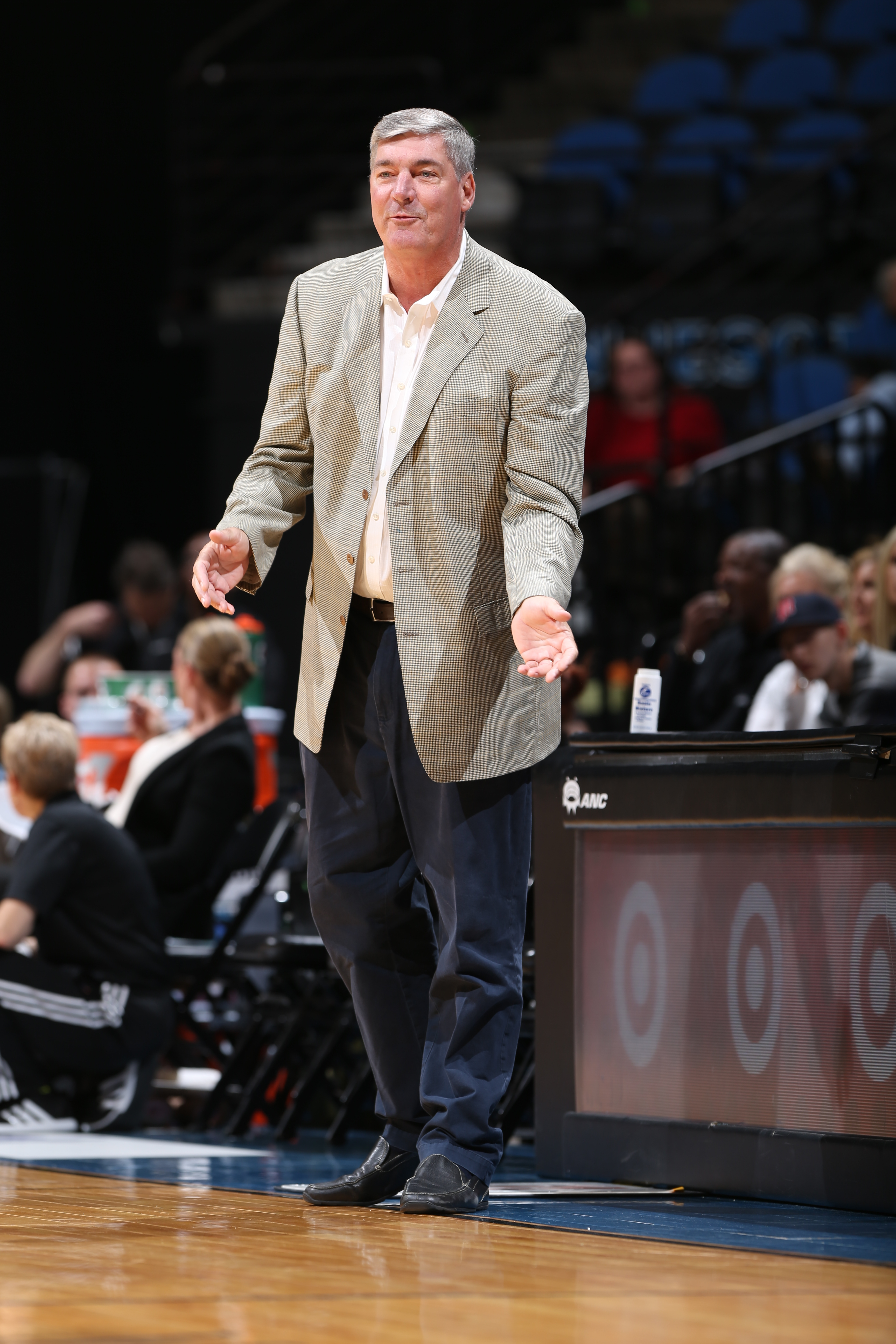 MINNEAPOLIS, MN - JUNE 1:  Head Coach Bill Laimbeer of the New York Liberty looks on against the Minnesota Lynx on June 1, 2015 at Target Center in Minneapolis, Minnesota. NOTE TO USER: User expressly acknowledges and agrees that, by downloading and or using this Photograph, user is consenting to the terms and conditions of the Getty Images License Agreement. Mandatory Copyright Notice: Copyright 2015 NBAE (Photo by David Sherman/NBAE via Getty Images)