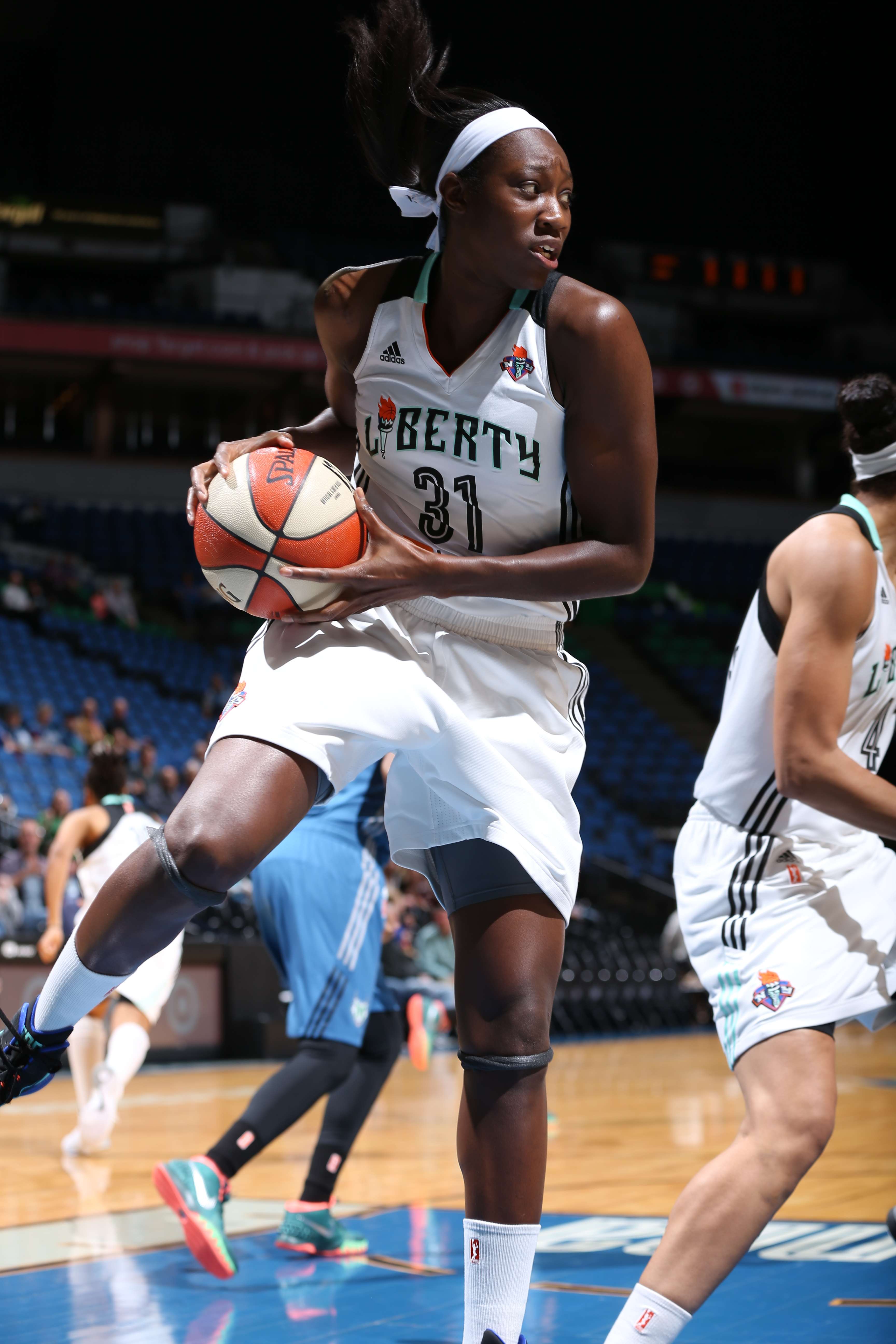 MINNEAPOLIS, MN - JUNE 1:  Tina Charles #31 of the New York Liberty grabs the rebound against the Minnesota Lynx on June 1, 2015 at Target Center in Minneapolis, Minnesota. NOTE TO USER: User expressly acknowledges and agrees that, by downloading and or using this Photograph, user is consenting to the terms and conditions of the Getty Images License Agreement. Mandatory Copyright Notice: Copyright 2015 NBAE (Photo by David Sherman/NBAE via Getty Images)