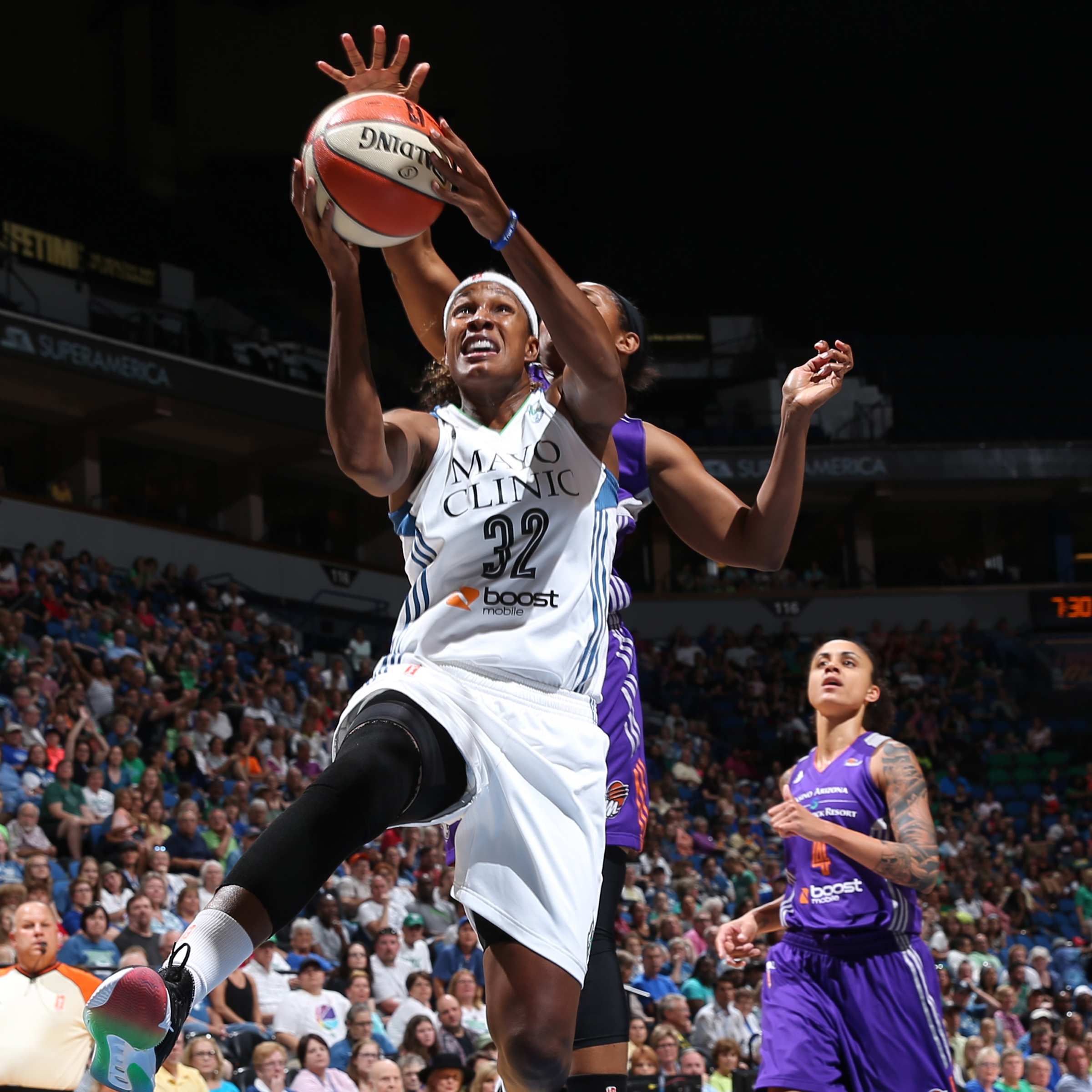 Lynx forward Rebekkah Brunson notched another double-double this season, scoring 14 points and grabbing 13 rebounds in the Lynx victory.