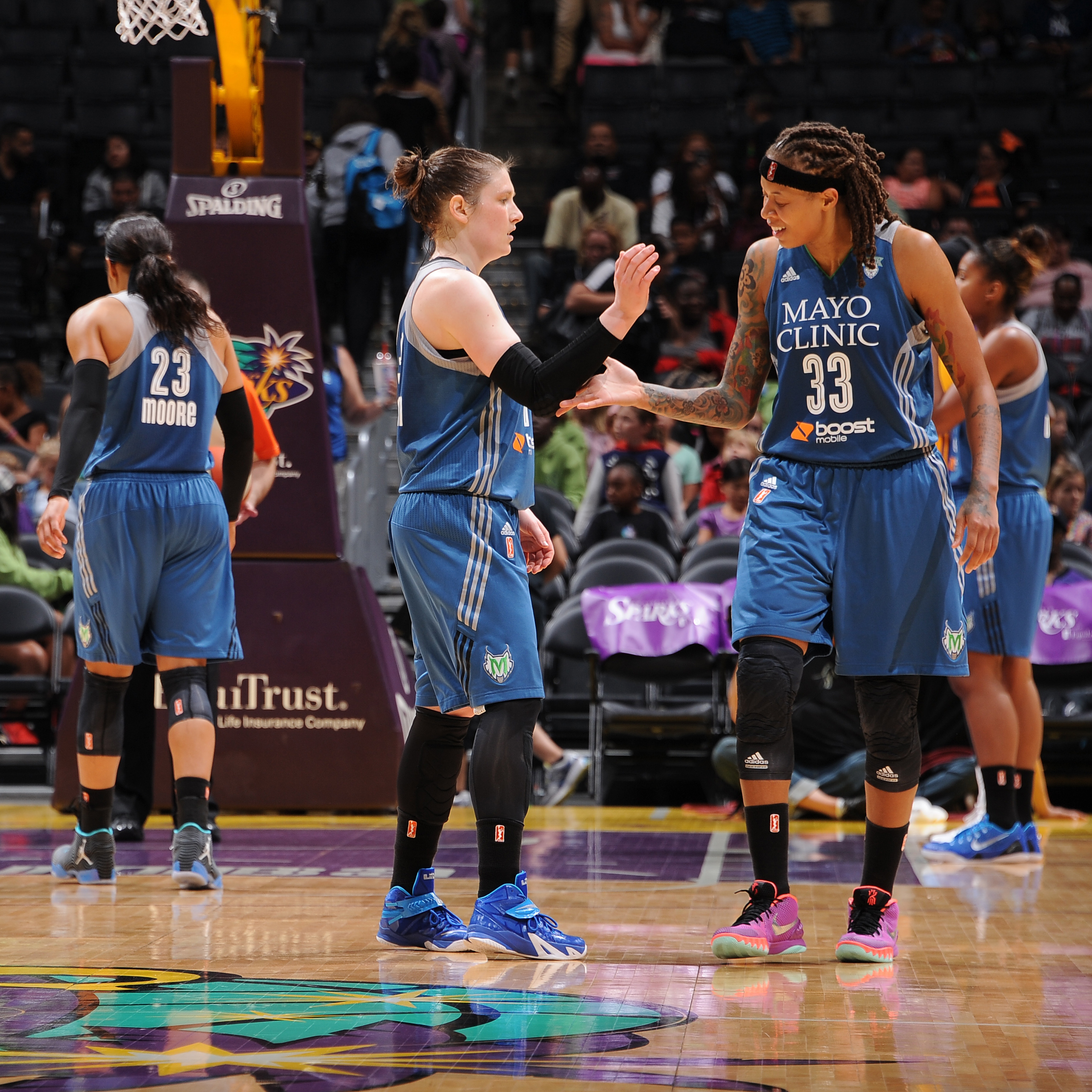 Lynx guards Lindsay Whalen and Seimone Augustus had reason to celebrate on Tuesday night after beating the Los Angeles Sparks 67-52 and running the Lnx record to 4-1 on the season.