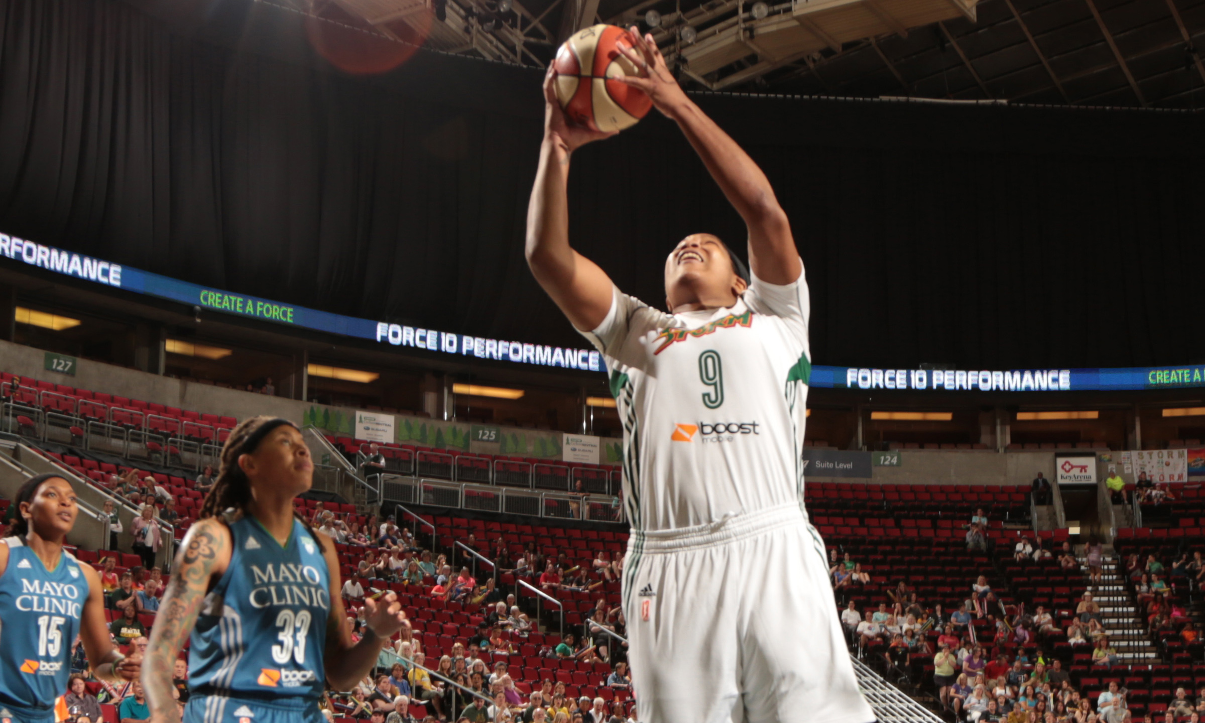Storm center Markeisha Gatling came off the bench for Seattle to score seven points and grab two rebounds.