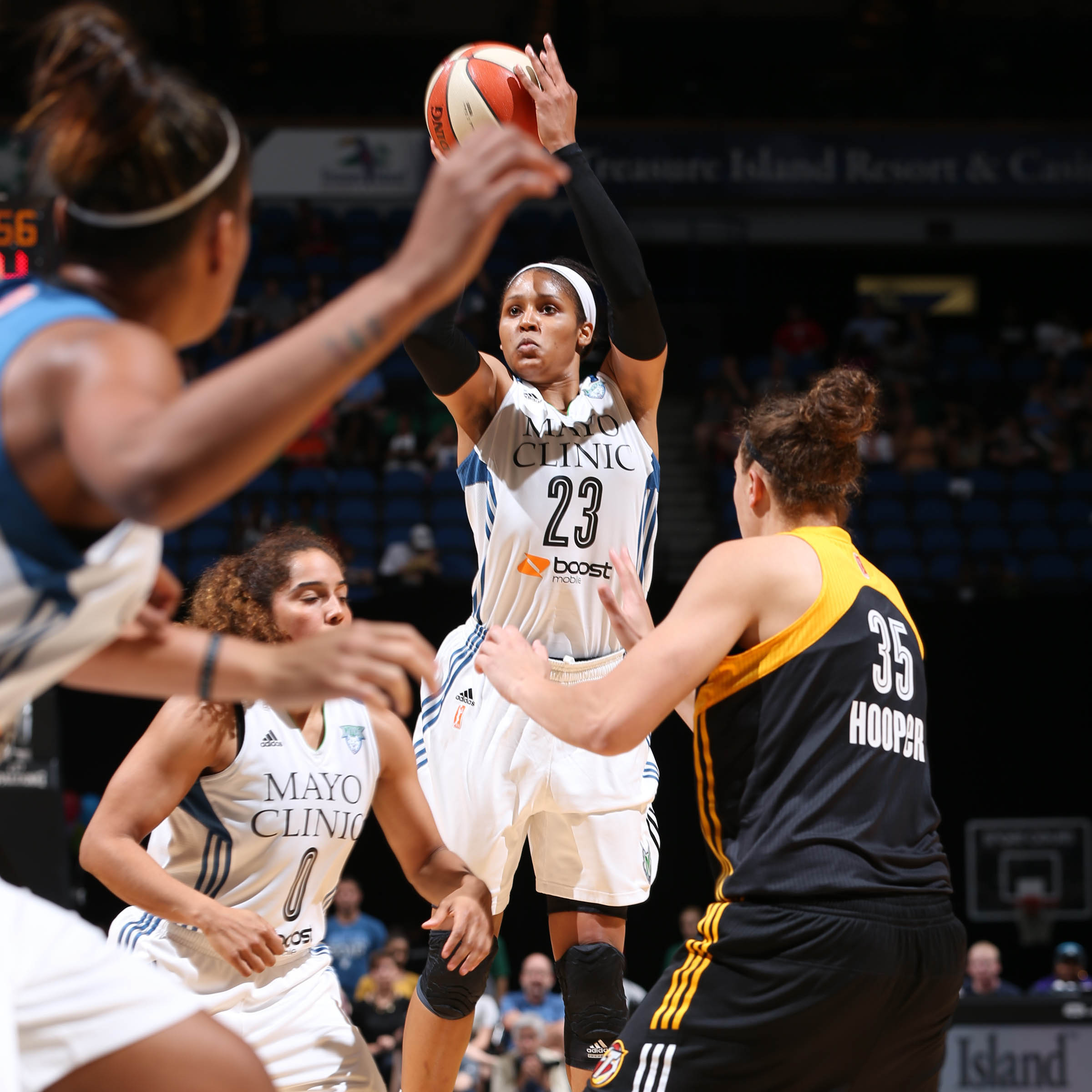 Lynx forward Maya Moore finished the game with 16 points, eight rebounds and six assists.