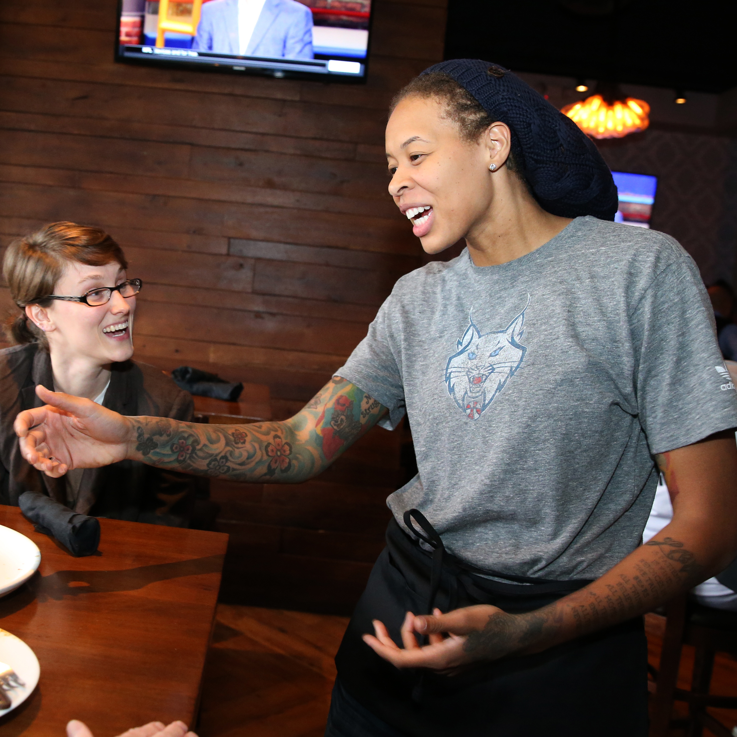 MINNEAPOLIS, MN - JUNE 3:  Seimone Augustus #33 of the Minnesota Lynx participates in the Tip-A-Lynx fundraiser to benefit the Minnesota Lynx Fastbreak Foundation on June 3, 2015 at the Loop West End Bar & Restaurant in Minneapolis, Minnesota.  NOTE TO USER: User expressly acknowledges and agrees that, by downloading and or using this Photograph, user is consenting to the terms and conditions of the Getty Images License Agreement. Mandatory Copyright Notice: Copyright 2015 NBAE (Photo by David Sherman/NBAE via Getty Images)