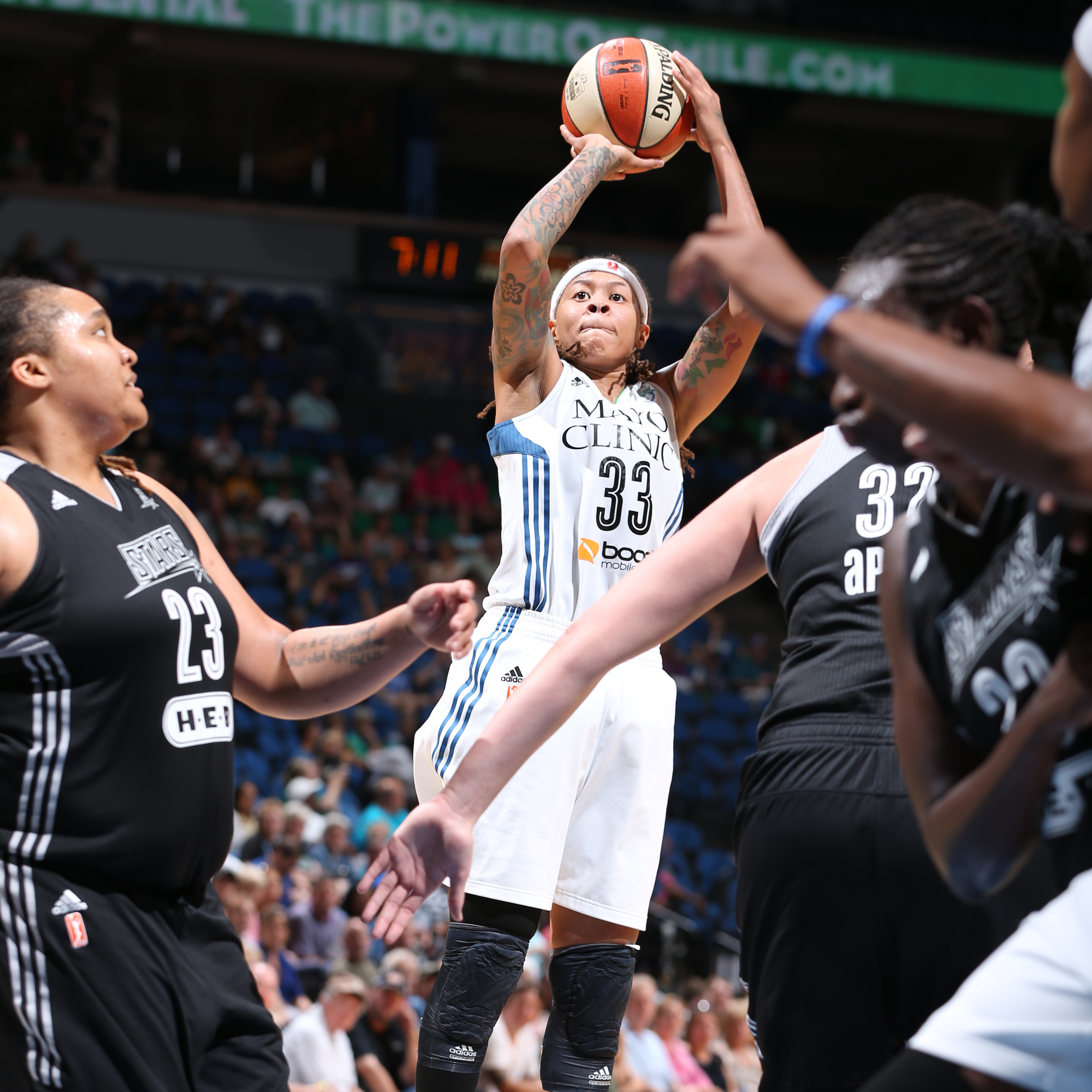 Lynx guard Seimone Augustus had another efficient night, scoring 12 points on 6-of-10 (60 percent) shooting in just over 19 minutes of playing time.