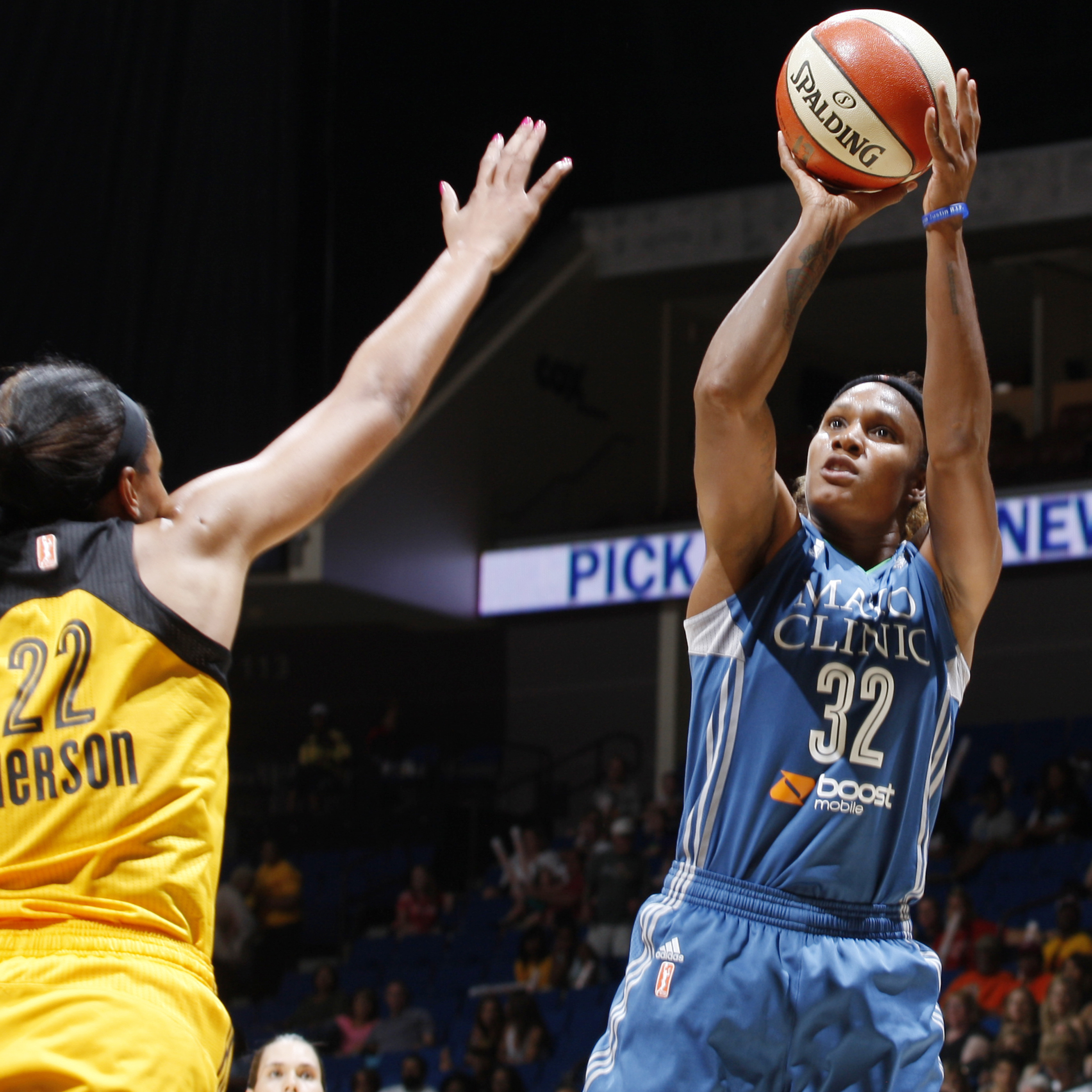 Lynx forward Rebekkah Brunson helped her team on both ends of the floor, scoring 12 points and grabbing 13 rebounds, as well as slowing down Tulsa's post players defensively.