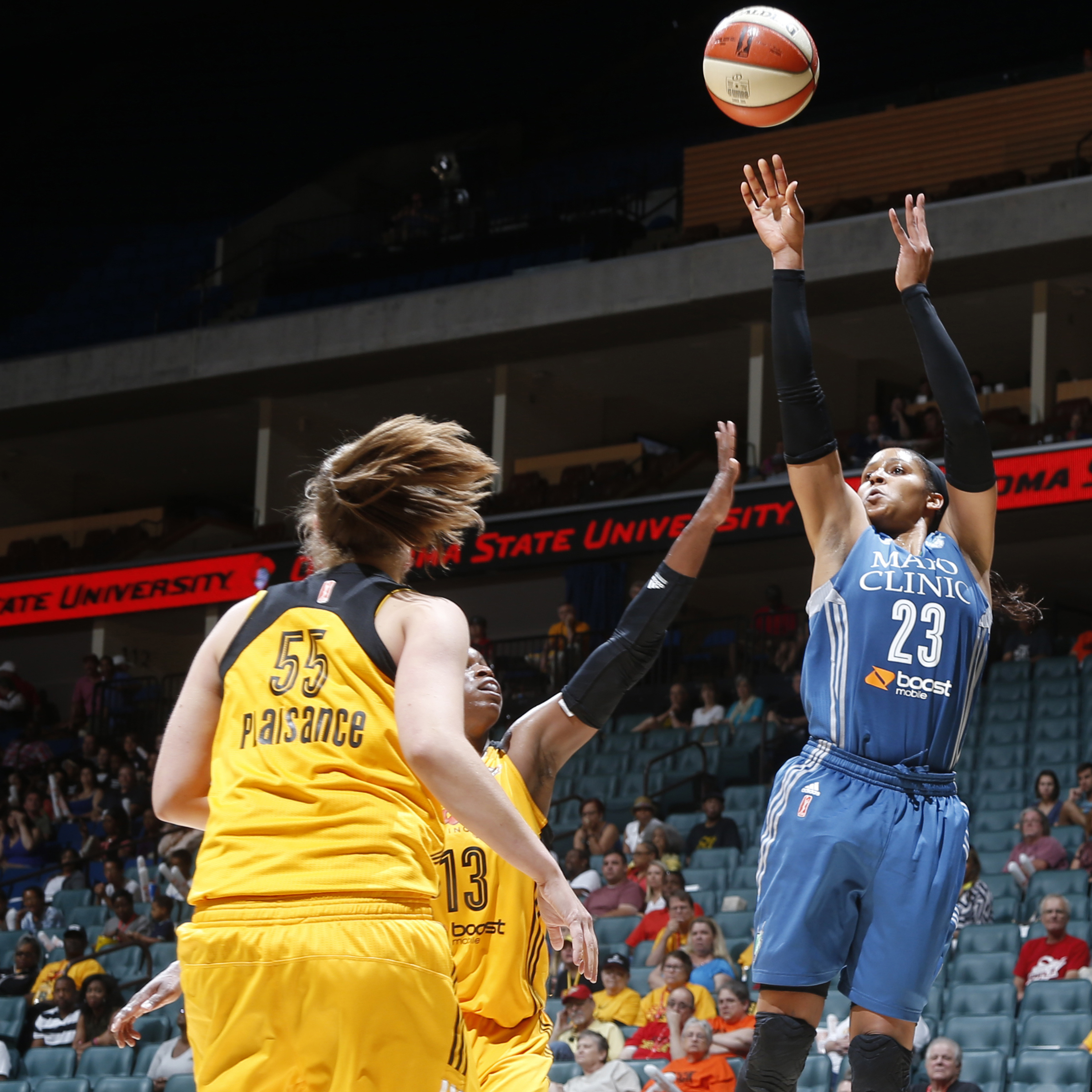 With her 32 point performance Sunday afternoon, Moore has now scored 20+ points in seven straight games, matching her franchise record.  Her 30 points in the second half set a franchise record for points in a half, the previous record being 29  set on June 3, 2000 against the Los Angeles Sparks by Katie Smith.