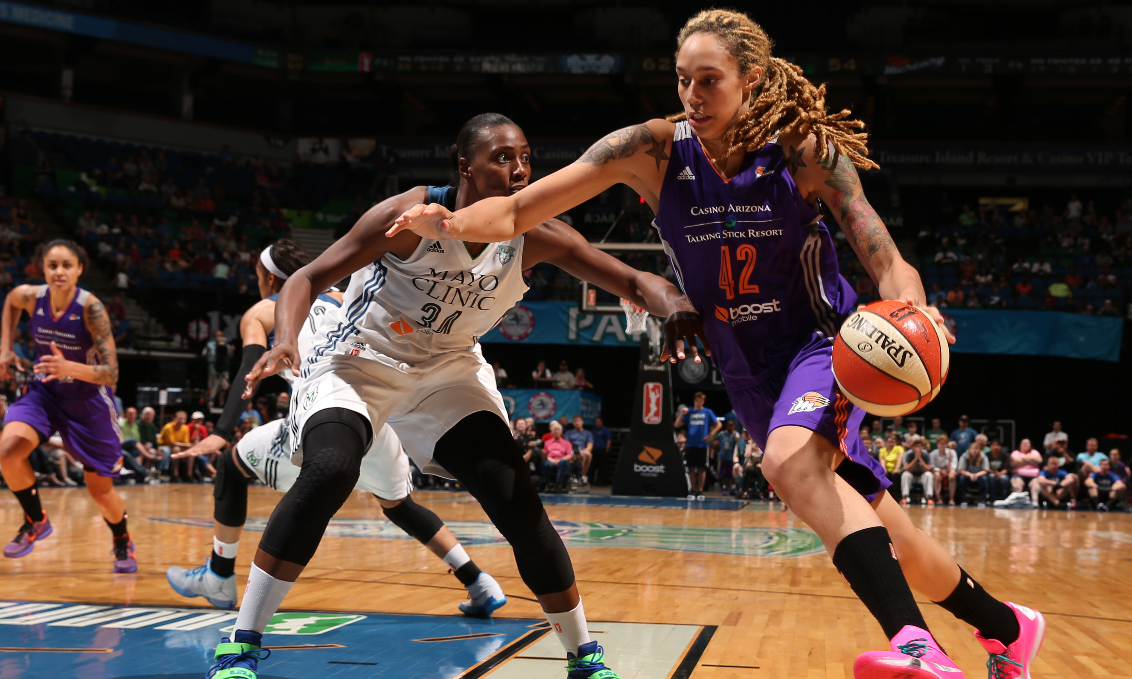Mercury center Brittney Griner was held scoreless in the second half but finished with 13 points, seven rebounds and nine blocks.