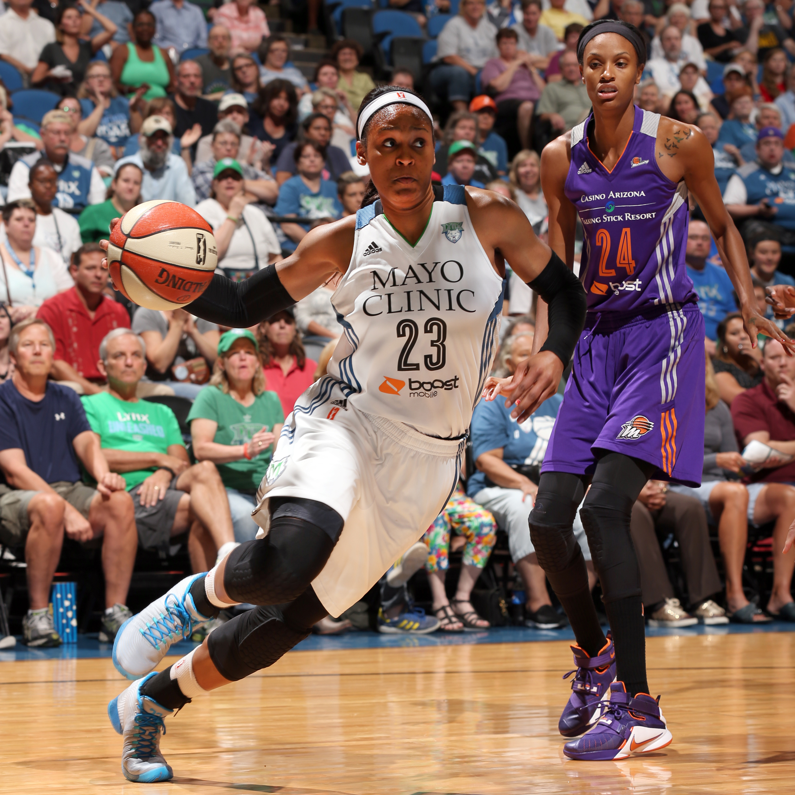 Lynx forward Maya Moore poured in a game-high 28 points to go with nine rebounds, five assists, four steals and a block.