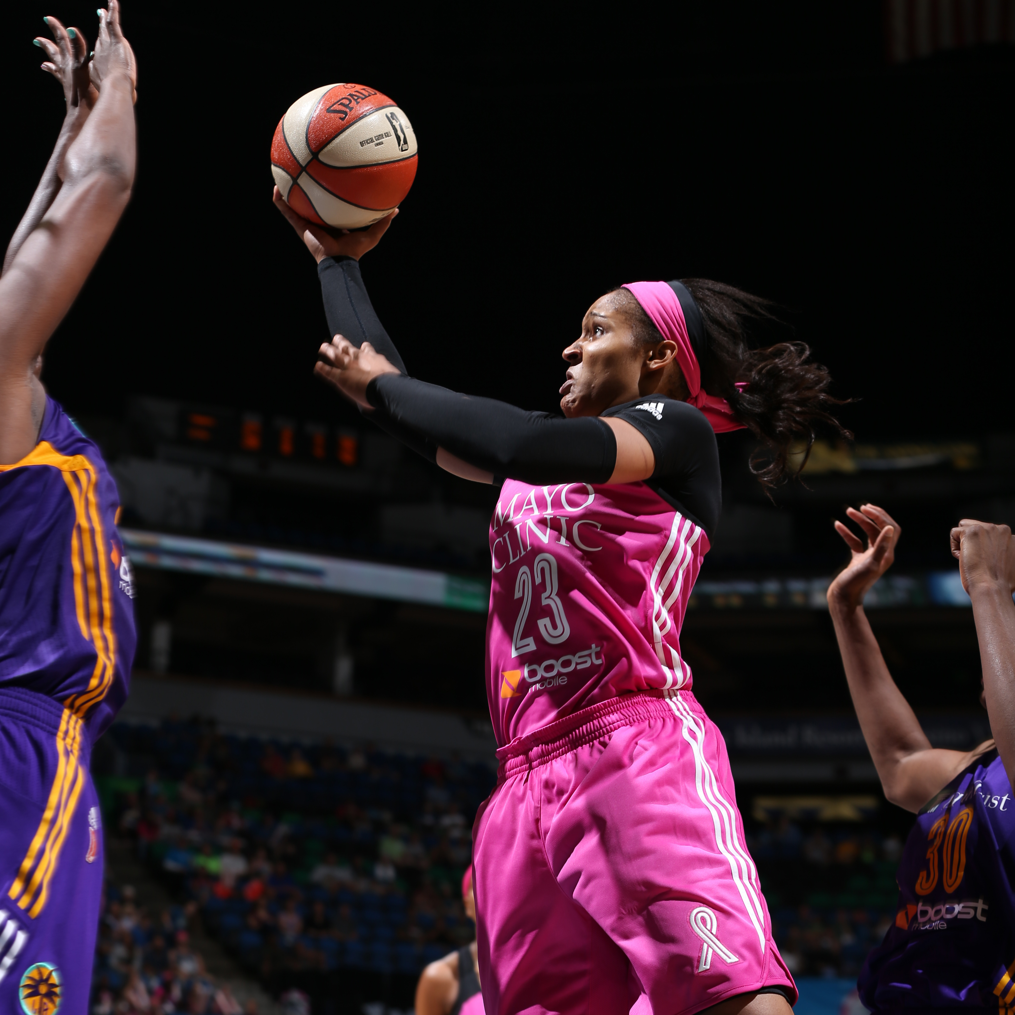 Lynx forward Maya Moore got back to her 20 point ways when the Lynx and Sparks met for the fourth and final time during the regular seaon, scoring 20 points. Moore also added five rebounds, two assists and two steals in Minnesota's 72-64 victory over the Sparks.