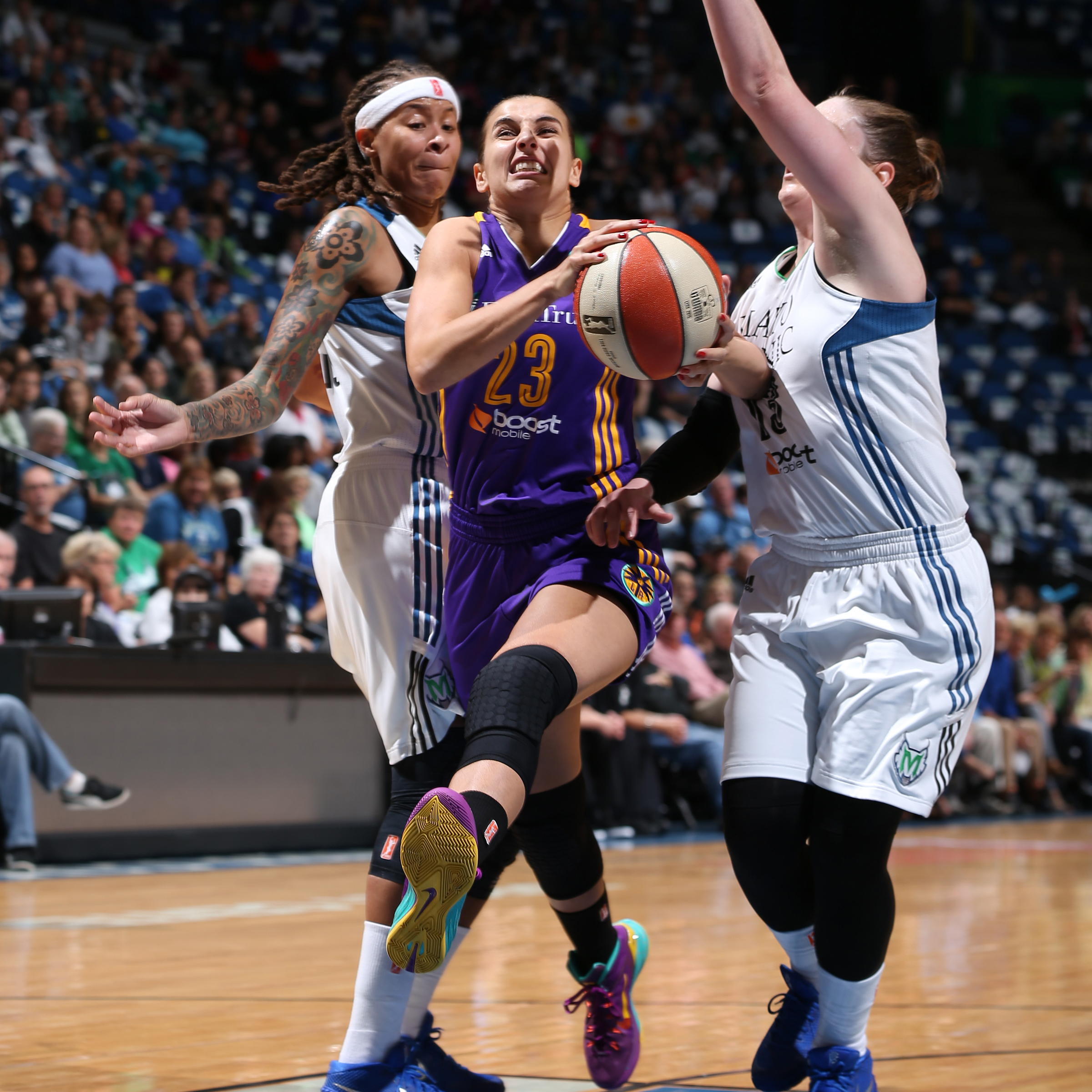 MINNEAPOLIS, MN - SEPTEMBER 18:  Ana Dabovic #23 of the Los Angeles Sparks drives to the basket against the Minnesota Lynx during Game 1 of the 2015 WNBA Western Conference Semifinal on September 18, 2015 at Target Center in Minneapolis, Minnesota.  NOTE TO USER: User expressly acknowledges and agrees that, by downloading and or using this Photograph, user is consenting to the terms and conditions of the Getty Images License Agreement. Mandatory Copyright Notice: Copyright 2015 NBAE (Photo by David Sherman/NBAE via Getty Images)