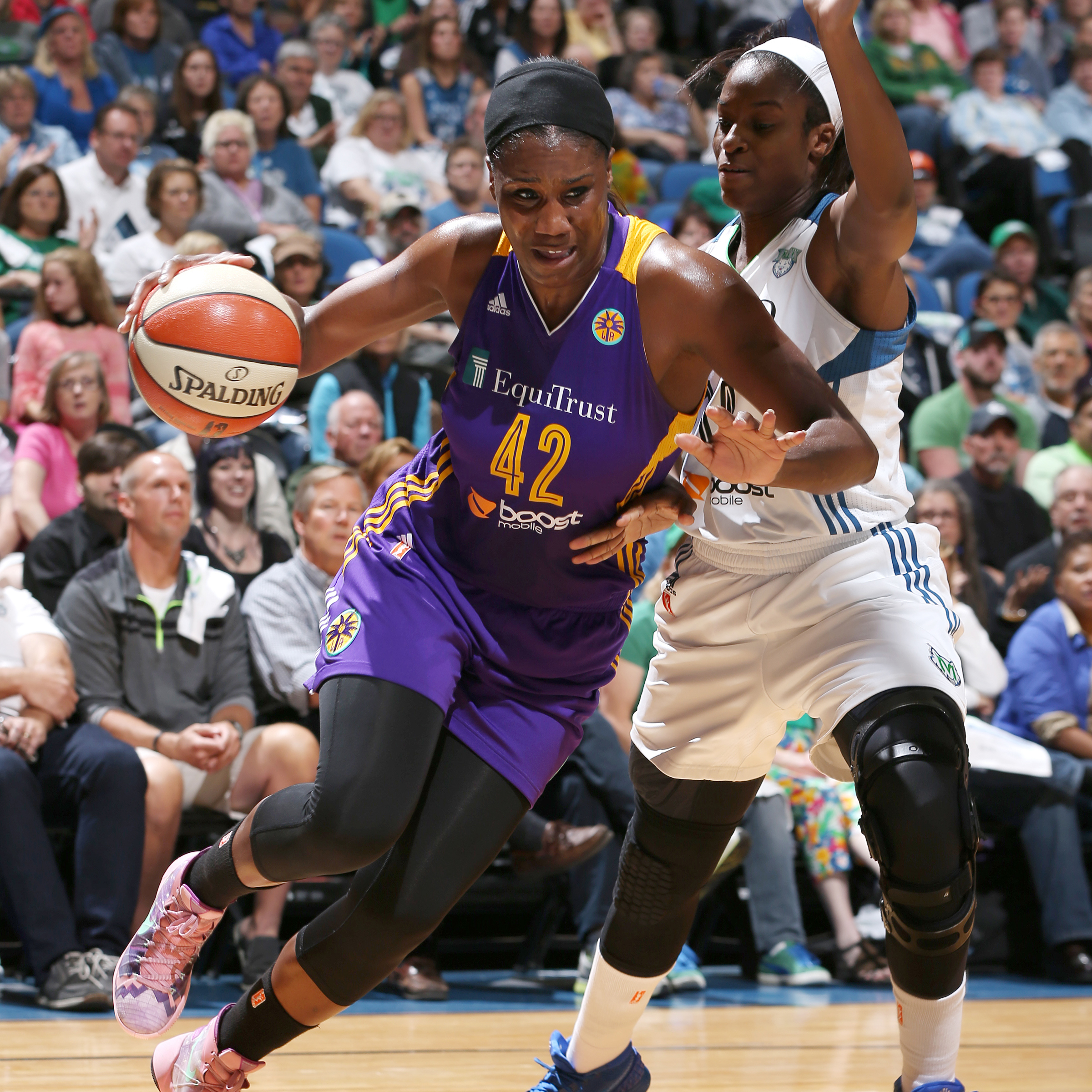 MINNEAPOLIS, MN - SEPTEMBER 18:  Jantel Lavender #42 of the Los Angeles Sparks drives to the basket against the Minnesota Lynx during Game 1 of the 2015 WNBA Western Conference Semifinal on September 18, 2015 at Target Center in Minneapolis, Minnesota.  NOTE TO USER: User expressly acknowledges and agrees that, by downloading and or using this Photograph, user is consenting to the terms and conditions of the Getty Images License Agreement. Mandatory Copyright Notice: Copyright 2015 NBAE (Photo by David Sherman/NBAE via Getty Images)