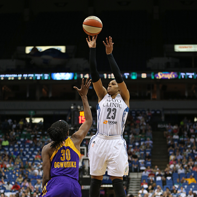 MINNEAPOLIS, MN - SEPTEMBER 22:  Maya Moore #23 of the Minnesota Lynx shoots the ball against the Los Angeles Sparks during Game 3 of the 2015 WNBA Western Conference Semifinal on September 22, 2015 at Target Center in Minneapolis, Minnesota.  NOTE TO USER: User expressly acknowledges and agrees that, by downloading and or using this Photograph, user is consenting to the terms and conditions of the Getty Images License Agreement. Mandatory Copyright Notice: Copyright 2015 NBAE (Photo by Jordan Johnson/NBAE via Getty Images)