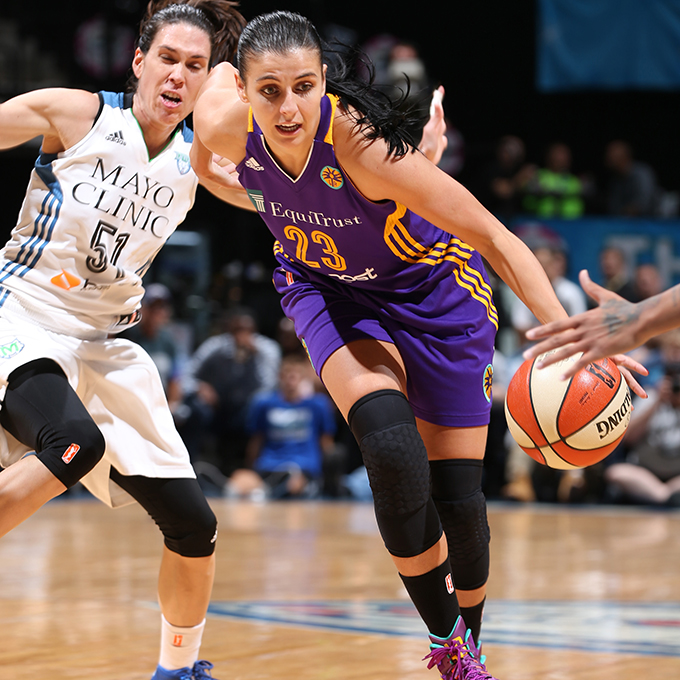 MINNEAPOLIS, MN - SEPTEMBER 22:  Ana Dabovic #23 of the Los Angeles Sparks handles the ball against the Minnesota Lynx during Game 3 of the 2015 WNBA Western Conference Semifinal on September 22, 2015 at Target Center in Minneapolis, Minnesota.  NOTE TO USER: User expressly acknowledges and agrees that, by downloading and or using this Photograph, user is consenting to the terms and conditions of the Getty Images License Agreement. Mandatory Copyright Notice: Copyright 2015 NBAE (Photo by David Sherman/NBAE via Getty Images)