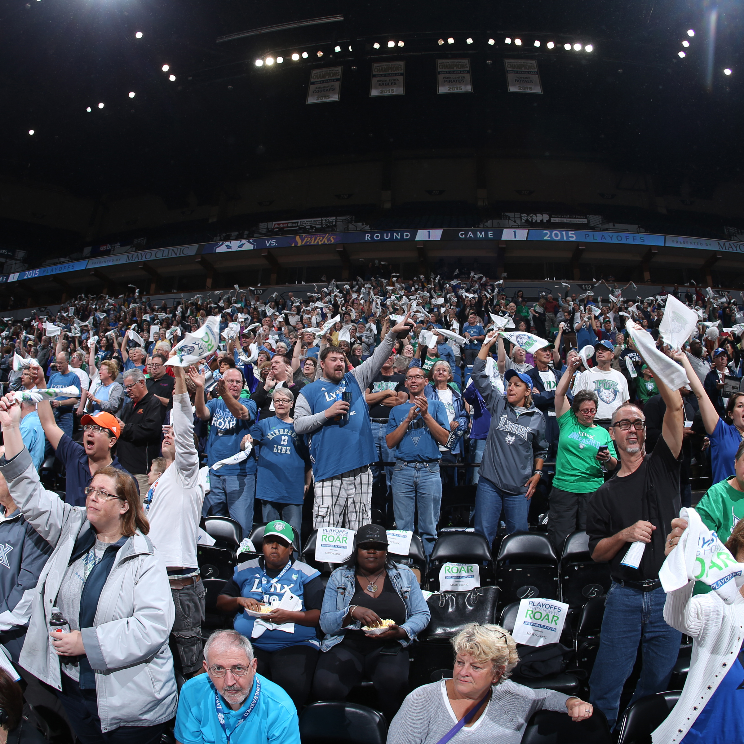 MINNEAPOLIS, MN - SEPTEMBER 18:  Minnesota Lynx fans wave their towels before the game against the Los Angeles Sparks during Game 1 of the 2015 WNBA Western Conference Semifinal on September 18, 2015 at Target Center in Minneapolis, Minnesota.  NOTE TO USER: User expressly acknowledges and agrees that, by downloading and or using this Photograph, user is consenting to the terms and conditions of the Getty Images License Agreement. Mandatory Copyright Notice: Copyright 2015 NBAE (Photo by David Sherman/NBAE via Getty Images)