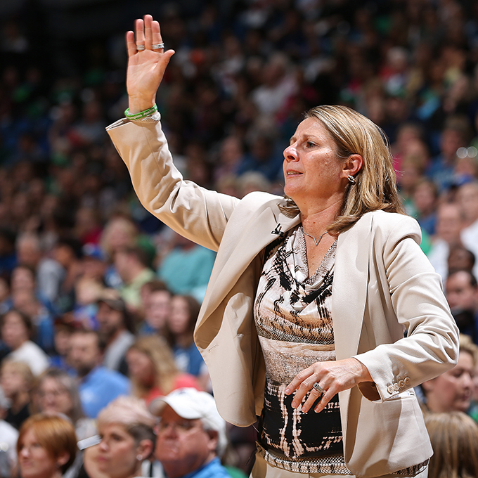 MINNEAPOLIS, MN - SEPTEMBER 24:  Cheryl Reeve of the Minnesota Lynx coaches against the Phoenix Mercury against the Minnesota Lynx during Game One of the WNBA Western Conference Finals on September 24, 2015 at Target Center in Minneapolis, Minnesota.  NOTE TO USER: User expressly acknowledges and agrees that, by downloading and or using this Photograph, user is consenting to the terms and conditions of the Getty Images License Agreement. Mandatory Copyright Notice: Copyright 2015 NBAE (Photo by David Sherman/NBAE via Getty Images)