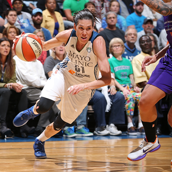 MINNEAPOLIS, MN - SEPTEMBER 24:  Anna Cruz #51 of the Minnesota Lynx drives to the basket against the Phoenix Mercury during Game One of the WNBA Western Conference Finals on September 24, 2015 at Target Center in Minneapolis, Minnesota.  NOTE TO USER: User expressly acknowledges and agrees that, by downloading and or using this Photograph, user is consenting to the terms and conditions of the Getty Images License Agreement. Mandatory Copyright Notice: Copyright 2015 NBAE (Photo by David Sherman/NBAE via Getty Images)