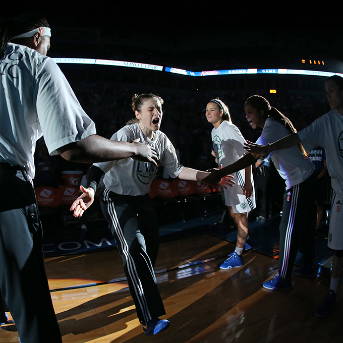 MINNEAPOLIS, MN - SEPTEMBER 22:  Lindsay Whalen #13 of the Minnesota Lynx shows emotion during the introductions before the game against the Los Angeles Sparks in Game 3 of the 2015 WNBA Western Conference Semifinal on September 22, 2015 at Target Center in Minneapolis, Minnesota.  NOTE TO USER: User expressly acknowledges and agrees that, by downloading and or using this Photograph, user is consenting to the terms and conditions of the Getty Images License Agreement. Mandatory Copyright Notice: Copyright 2015 NBAE (Photo by David Sherman/NBAE via Getty Images)