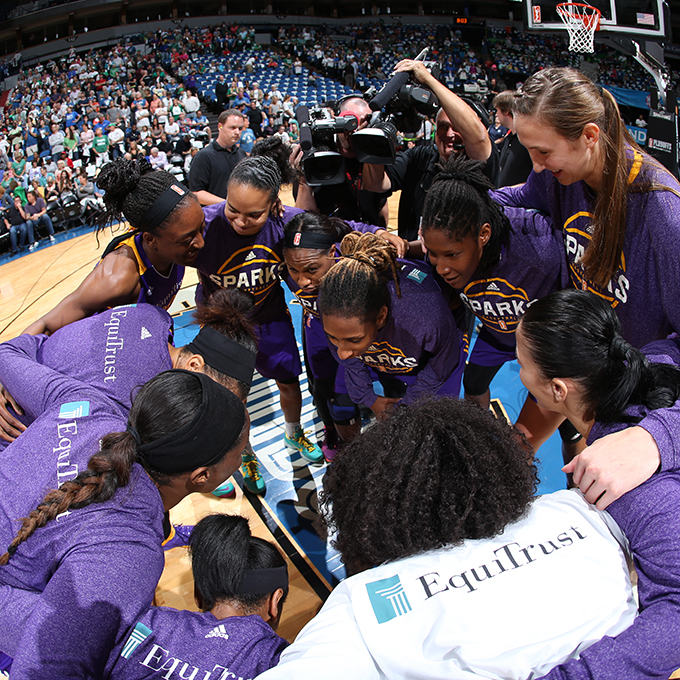 MINNEAPOLIS, MN - SEPTEMBER 22:  The Los Angeles Sparks huddle before the game against the Minnesota Lynx in Game 3 of the 2015 WNBA Western Conference Semifinal on September 22, 2015 at Target Center in Minneapolis, Minnesota.  NOTE TO USER: User expressly acknowledges and agrees that, by downloading and or using this Photograph, user is consenting to the terms and conditions of the Getty Images License Agreement. Mandatory Copyright Notice: Copyright 2015 NBAE (Photo by David Sherman/NBAE via Getty Images)
