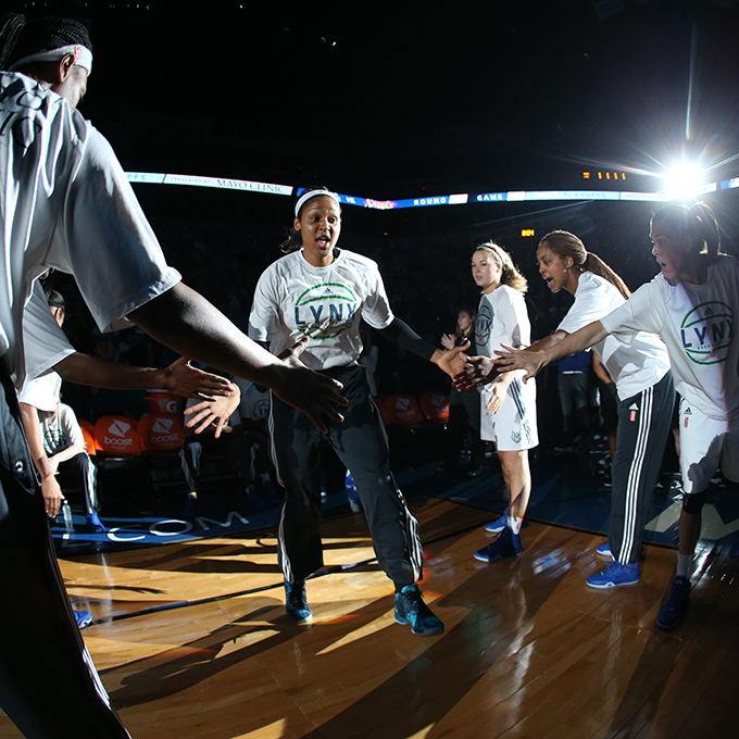 MINNEAPOLIS, MN - SEPTEMBER 22:  Maya Moore #23 of the Minnesota Lynx gets introduced before the game against the Los Angeles Sparks during Game 3 of the 2015 WNBA Western Conference Semifinal on September 22, 2015 at Target Center in Minneapolis, Minnesota.  NOTE TO USER: User expressly acknowledges and agrees that, by downloading and or using this Photograph, user is consenting to the terms and conditions of the Getty Images License Agreement. Mandatory Copyright Notice: Copyright 2015 NBAE (Photo by David Sherman/NBAE via Getty Images)