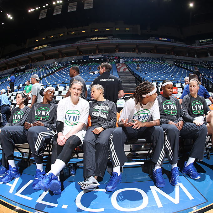 MINNEAPOLIS, MN - SEPTEMBER 22:  The Minnesota Lynx before taking on the Los Angeles Sparks in Game 3 of the 2015 WNBA Western Conference Semifinal on September 22, 2015 at Target Center in Minneapolis, Minnesota.  NOTE TO USER: User expressly acknowledges and agrees that, by downloading and or using this Photograph, user is consenting to the terms and conditions of the Getty Images License Agreement. Mandatory Copyright Notice: Copyright 2015 NBAE (Photo by David Sherman/NBAE via Getty Images)