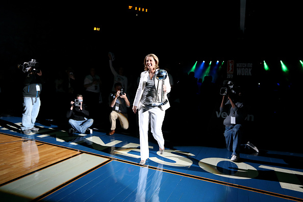 MINNEAPOLIS, MN - MAY 14: Head coach Cheryl Reeve of the Minnesota Lynx heads out to give the 2015 Championship rings before the game before the WNBA game on May 14, 2016 at Target Center in Minneapolis, Minnesota. NOTE TO USER: User expressly acknowledges and agrees that, by downloading and or using this Photograph, user is consenting to the terms and conditions of the Getty Images License Agreement. Mandatory Copyright Notice: Copyright 2016 NBAE (Photo by David Sherman/NBAE via Getty Images)