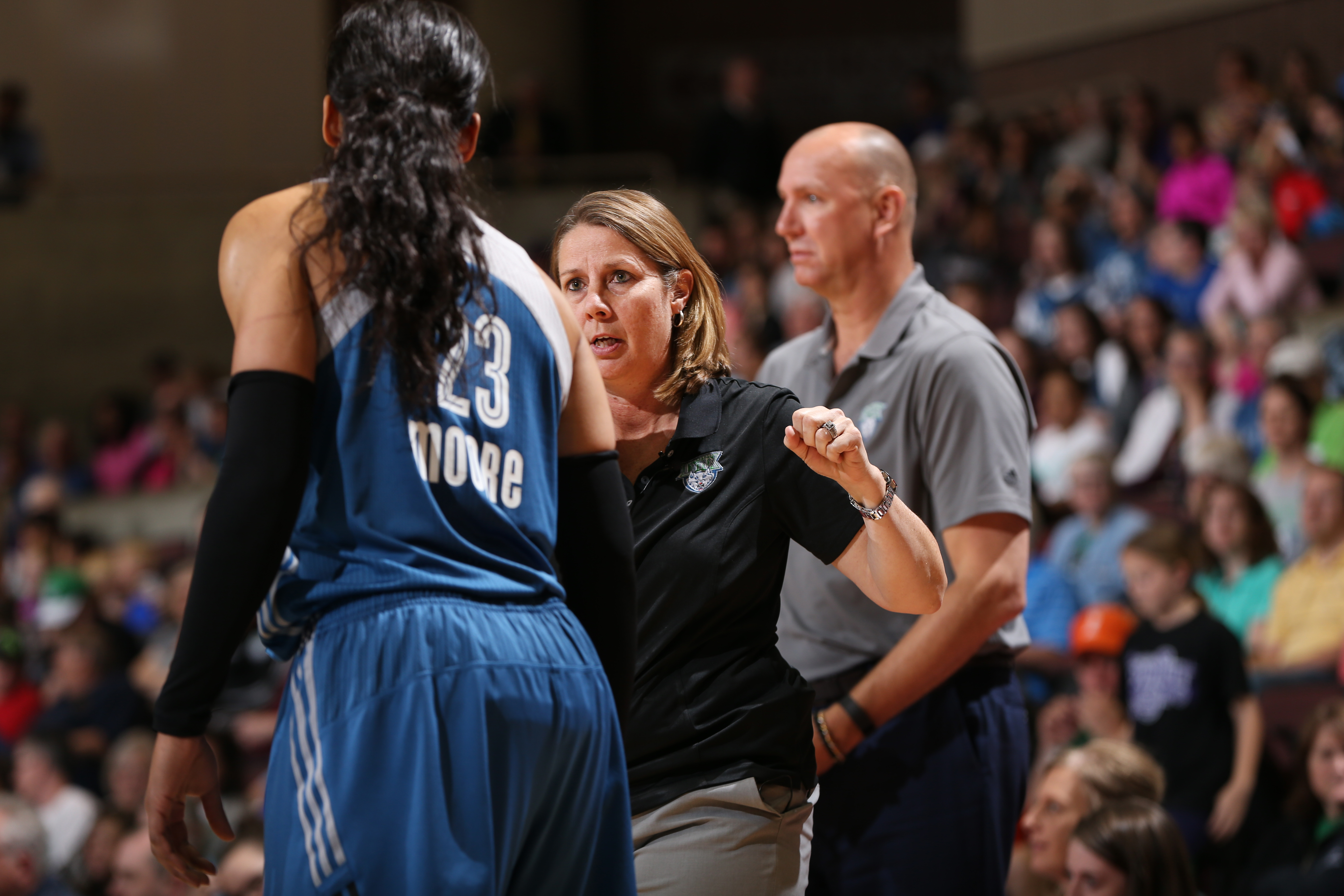 ROCHESTER, MN - MAY 8: Maya Moore #23 of the Minnesota Lynx and Cheryl Reeve Head Coach of the Minnesota Lynx during the preseason game against the Washington Mystics on May 8, 2016 at the Mayo Civic Center in Rochester, Minnesota. NOTE TO USER: User expressly acknowledges and agrees that, by downloading and or using this Photograph, user is consenting to the terms and conditions of the Getty Images License Agreement. Mandatory Copyright Notice: Copyright 2016 NBAE (Photo by David Sherman/NBAE via Getty Images)