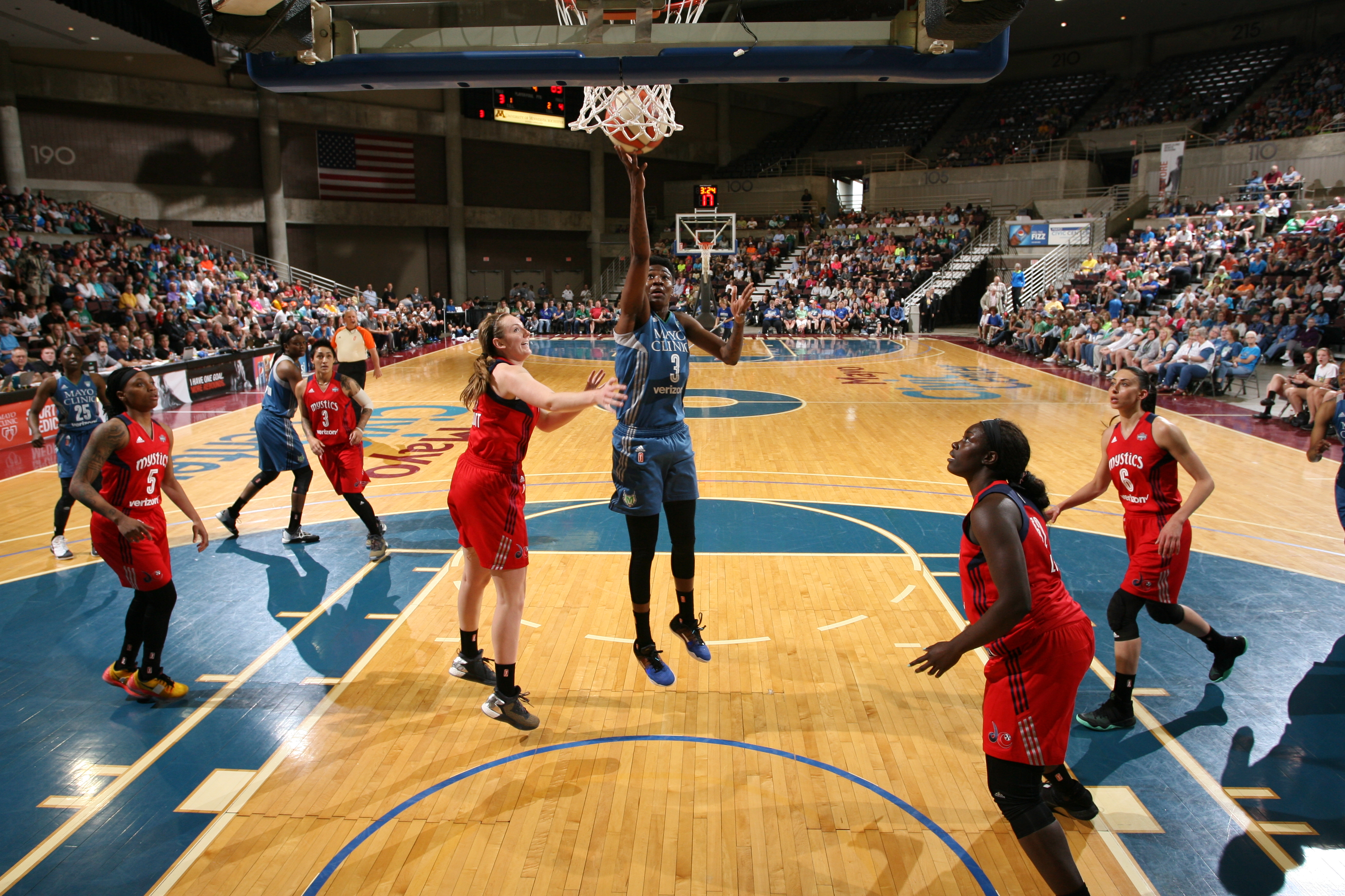 ROCHESTER, MN - MAY 8: Natasha Howard #3 of the Minnesota Lynx goes for the lay-up against Ally Malott #11 of the Washington Mystics during the preseason game on May 8, 2016 at the Mayo Civic Center in Rochester, Minnesota. NOTE TO USER: User expressly acknowledges and agrees that, by downloading and or using this Photograph, user is consenting to the terms and conditions of the Getty Images License Agreement. Mandatory Copyright Notice: Copyright 2016 NBAE (Photo by David Sherman/NBAE via Getty Images)