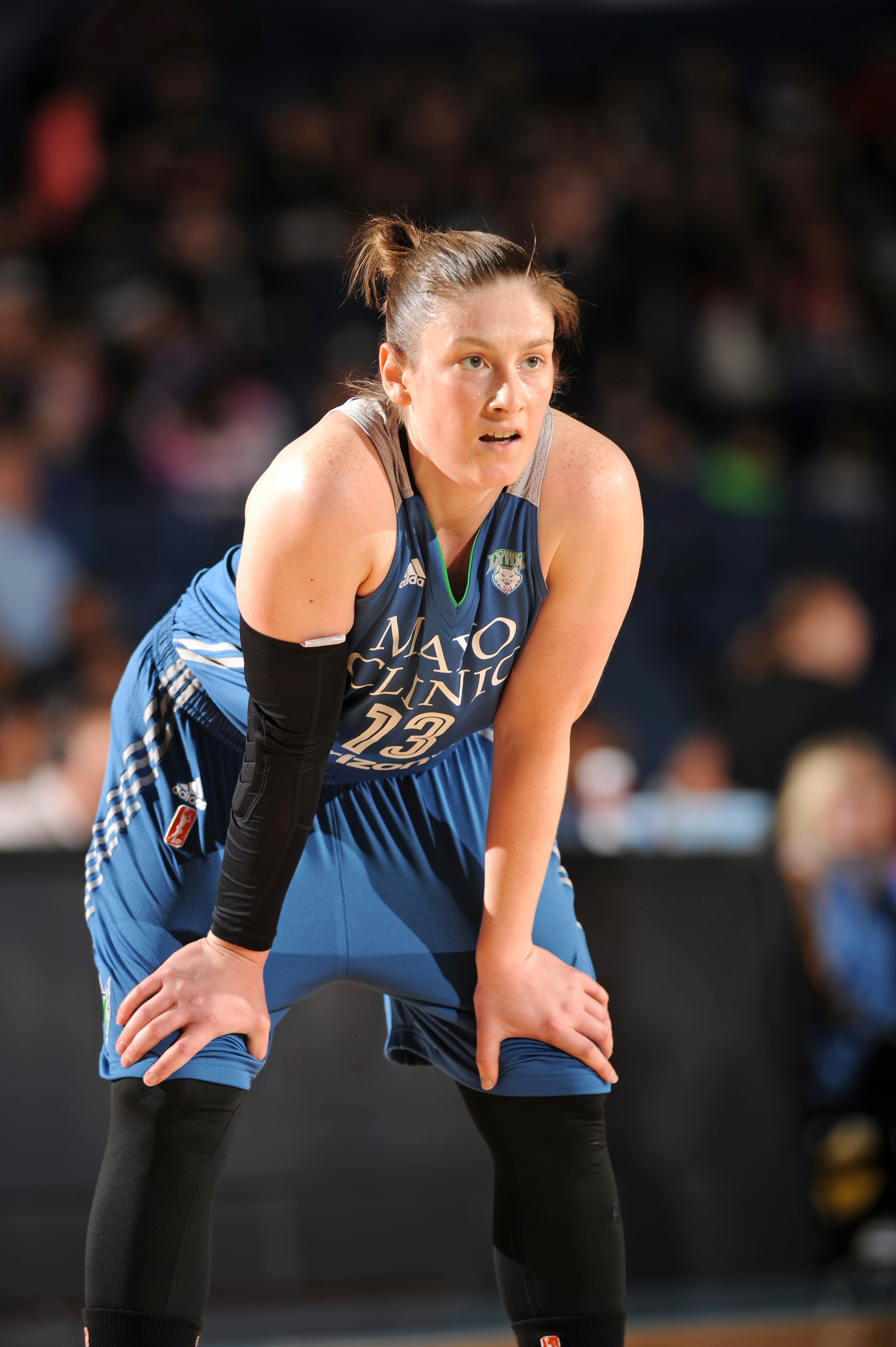 ROSEMONT, IL- MAY 18: Lindsay Whalen #13 of the Minnesota Lynx looks on during the game against the Chicago Sky on May 18, 2016 at the Allstate Arena in Rosemont, Illinois. NOTE TO USER: User expressly acknowledges and agrees that, by downloading and/or using this photograph, user is consenting to the terms and conditions of the Getty Images License Agreement. Mandatory Copyright Notice: Copyright 2016 NBAE (Photo by Randy Belice/NBAE via Getty Images)