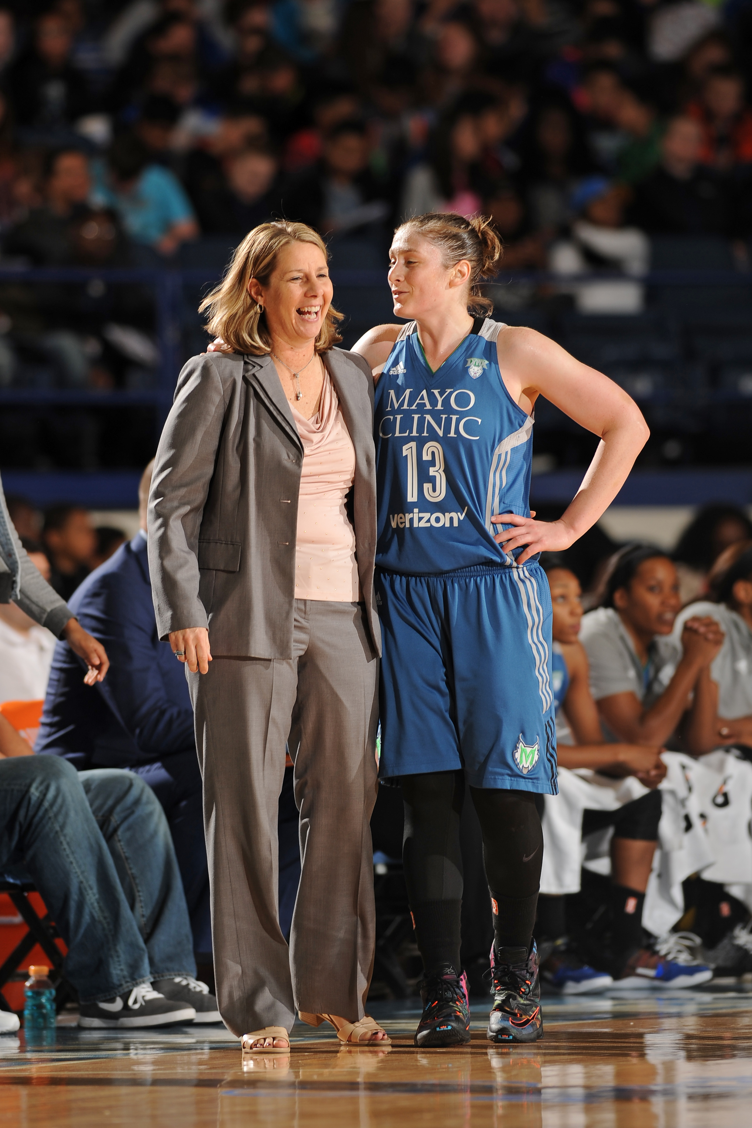 ROSEMONT, IL- MAY 18: Lindsay Whalen #13 of the Minnesota Lynx talks with head coach Cheryl Reeve during the game against the Chicago Sky on May 18, 2016 at the Allstate Arena in Rosemont, Illinois. NOTE TO USER: User expressly acknowledges and agrees that, by downloading and/or using this photograph, user is consenting to the terms and conditions of the Getty Images License Agreement. Mandatory Copyright Notice: Copyright 2016 NBAE (Photo by Randy Belice/NBAE via Getty Images)