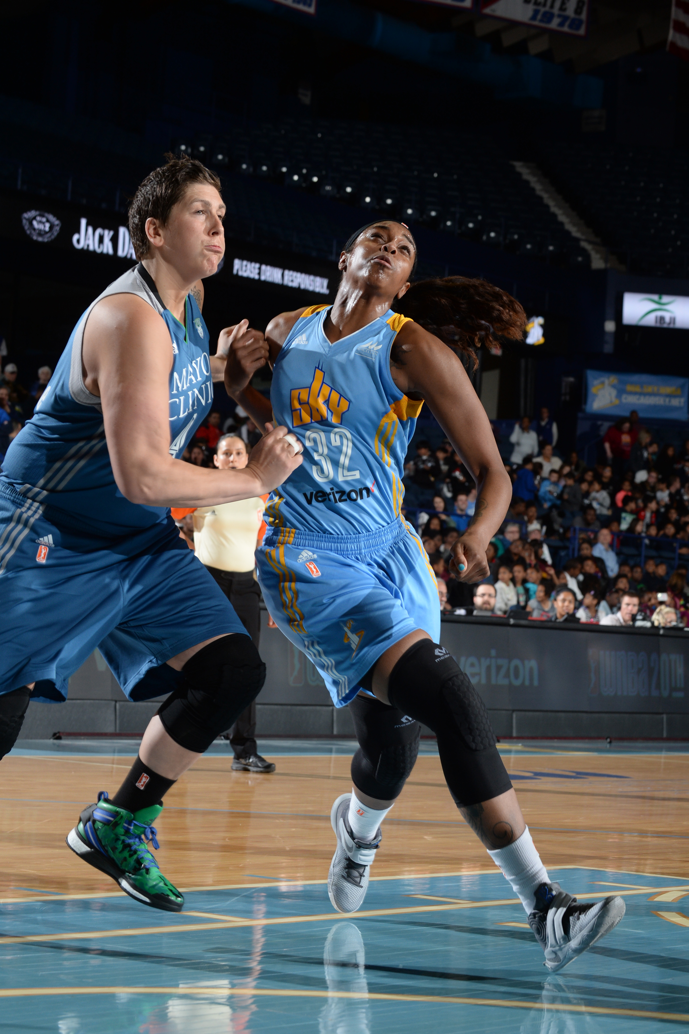 ROSEMONT, IL- MAY 18: Cheyenne Parker #32 of the Chicago Sky fights for position against Janel McCarville #4 of the Minnesota Lynx on May 18, 2016 at the Allstate Arena in Rosemont, Illinois. NOTE TO USER: User expressly acknowledges and agrees that, by downloading and/or using this photograph, user is consenting to the terms and conditions of the Getty Images License Agreement. Mandatory Copyright Notice: Copyright 2016 NBAE (Photo by Randy Belice/NBAE via Getty Images)