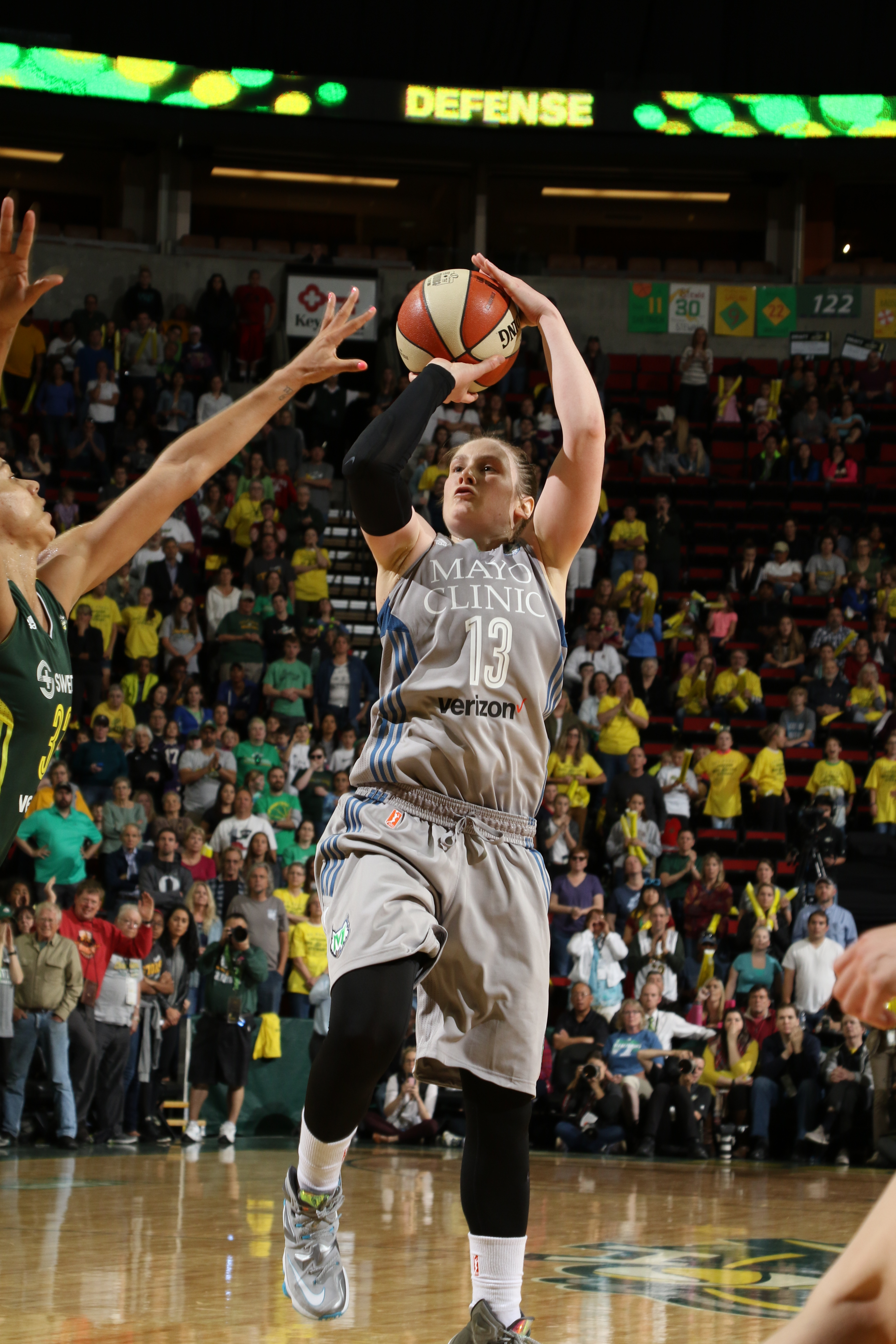 SEATTLE, WA - MAY 22:  Lindsay Whalen #13 of the Minnesota Lynx shoots the ball against the Seattle Storm on May 22, 2016 at KeyArena in Seattle, Washington. NOTE TO USER: User expressly acknowledges and agrees that, by downloading and or using this photograph, user is consenting to the terms and conditions of Getty Images License Agreement. Mandatory Copyright Notice: Copyright 2016 NBAE (Photo by Josh Huston/NBAE via Getty Images)