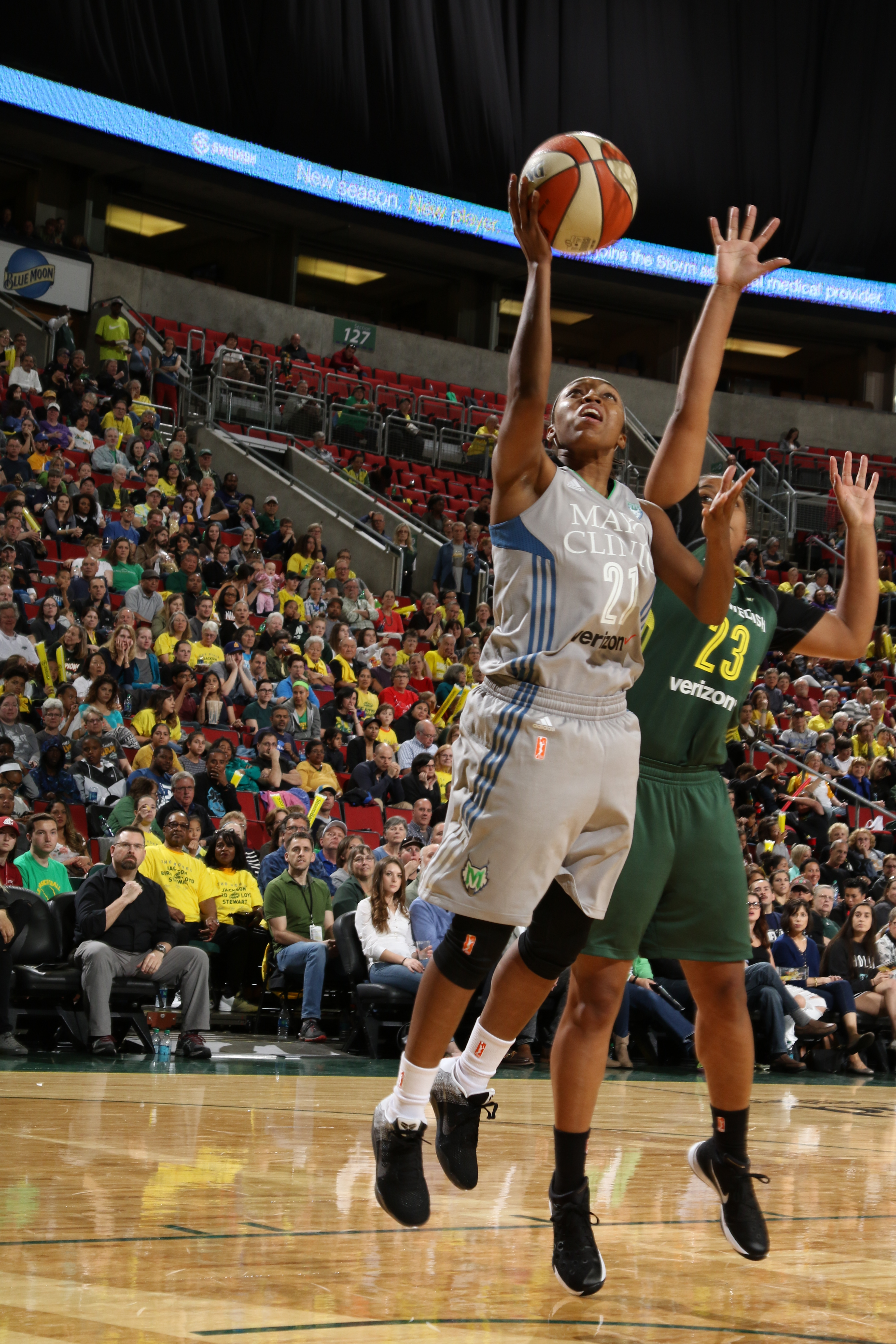 SEATTLE, WA - MAY 22: Renee Montgomery #21 of the Minnesota Lynx shoots the ball against the Minnesota Lynx  on May 22, 2016 at KeyArena in Seattle, Washington. NOTE TO USER: User expressly acknowledges and agrees that, by downloading and or using this photograph, user is consenting to the terms and conditions of Getty Images License Agreement. Mandatory Copyright Notice: Copyright 2016 NBAE (Photo by Josh Huston/NBAE via Getty Images)