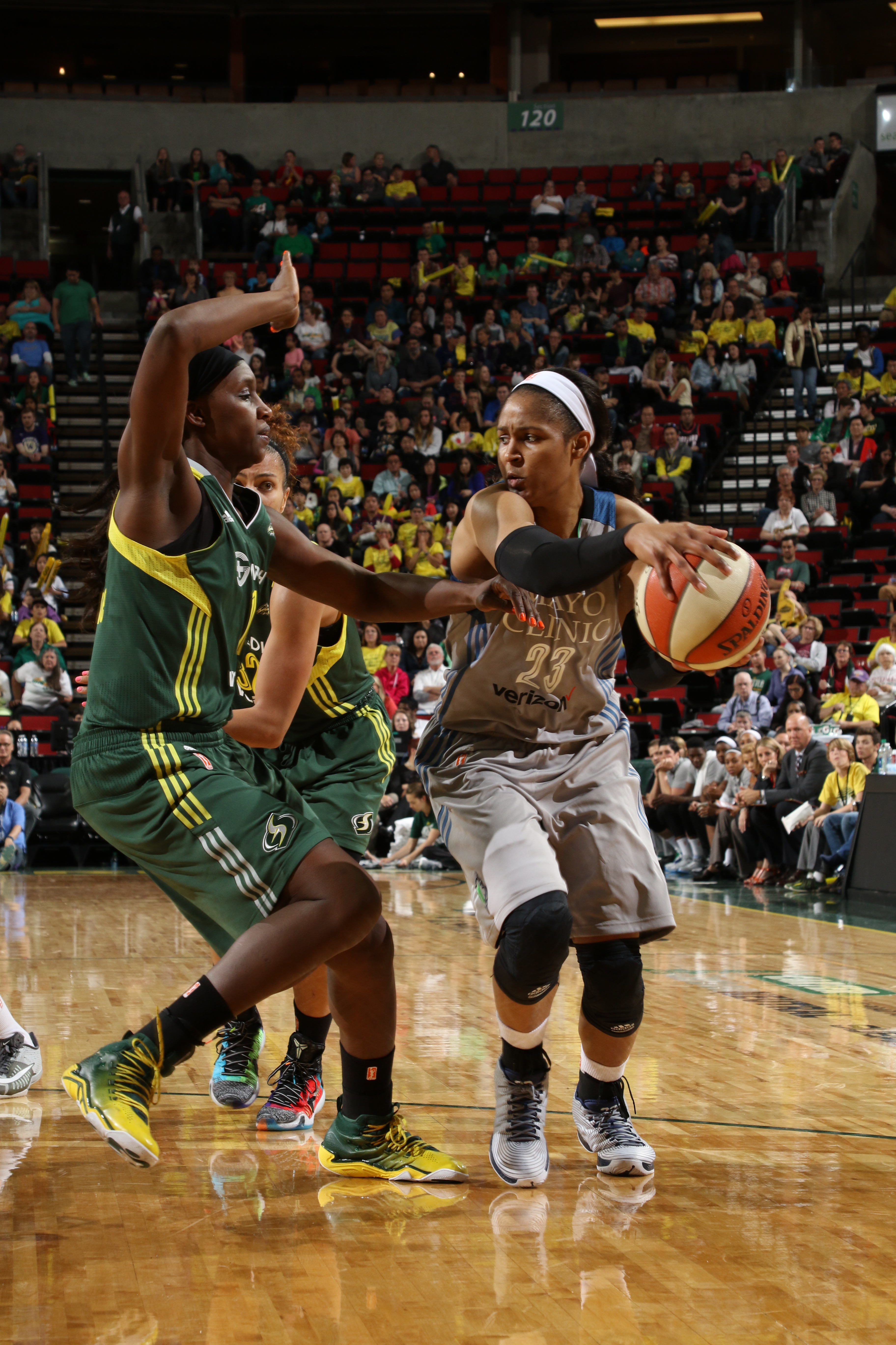 SEATTLE, WA - MAY 22: Maya Moore #23 of the Minnesota Lynx handles the ball against the Seattle Storm  on May 22, 2016 at KeyArena in Seattle, Washington. NOTE TO USER: User expressly acknowledges and agrees that, by downloading and or using this photograph, user is consenting to the terms and conditions of Getty Images License Agreement. Mandatory Copyright Notice: Copyright 2016 NBAE (Photo by Josh Huston/NBAE via Getty Images)