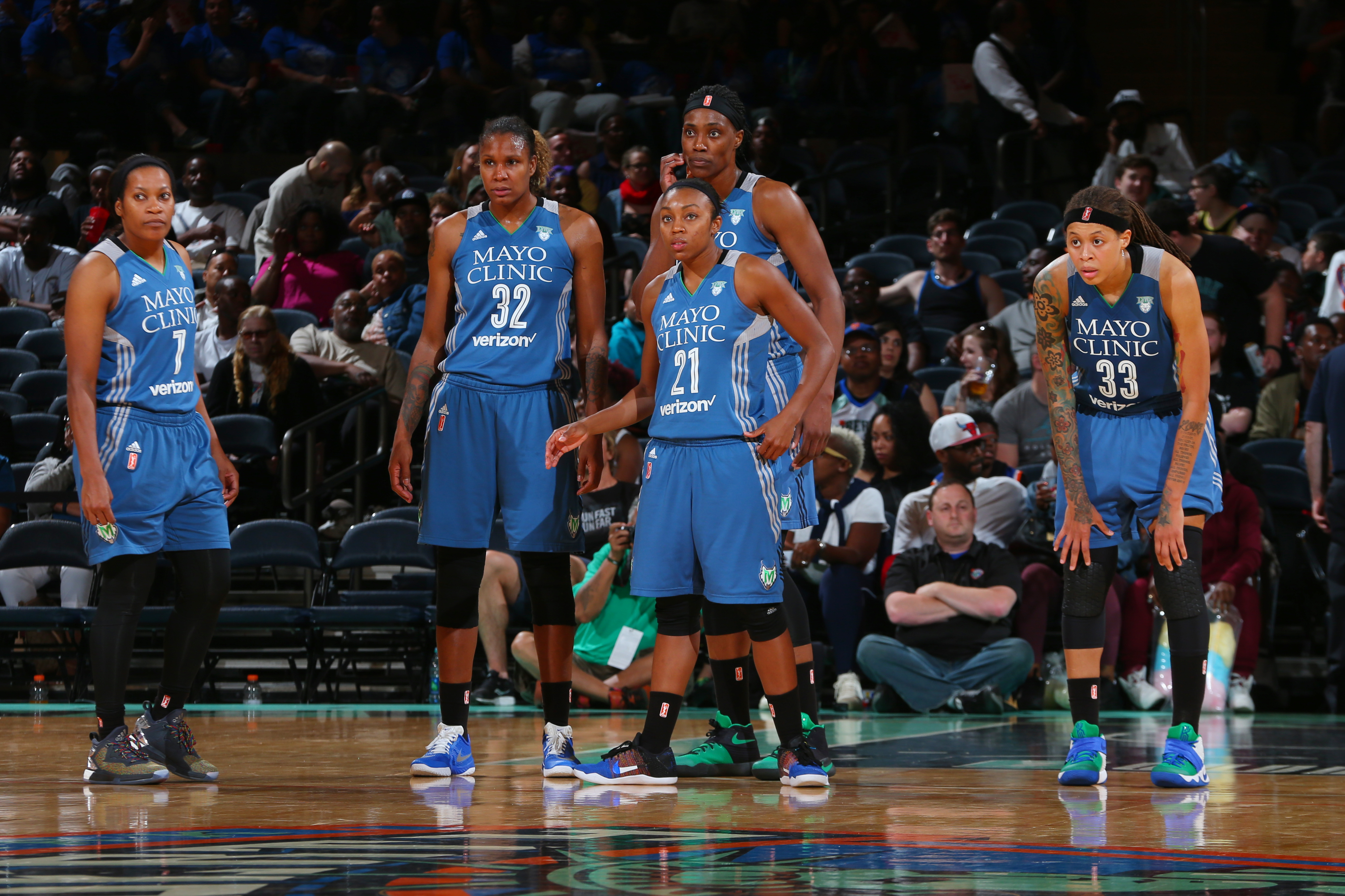 NEW YORK, NY - MAY 31: The Minnesota Lynx look on after a play against the New York Liberty during the game on May 31, 2016 at Madison Square Garden in New York, New York. NOTE TO USER: User expressly acknowledges and agrees that, by downloading and or using this Photograph, user is consenting to the terms and conditions of the Getty Images License Agreement. Mandatory Copyright Notice: Copyright 2016 NBAE (Photo by Mike Stobe/NBAE via Getty Images)