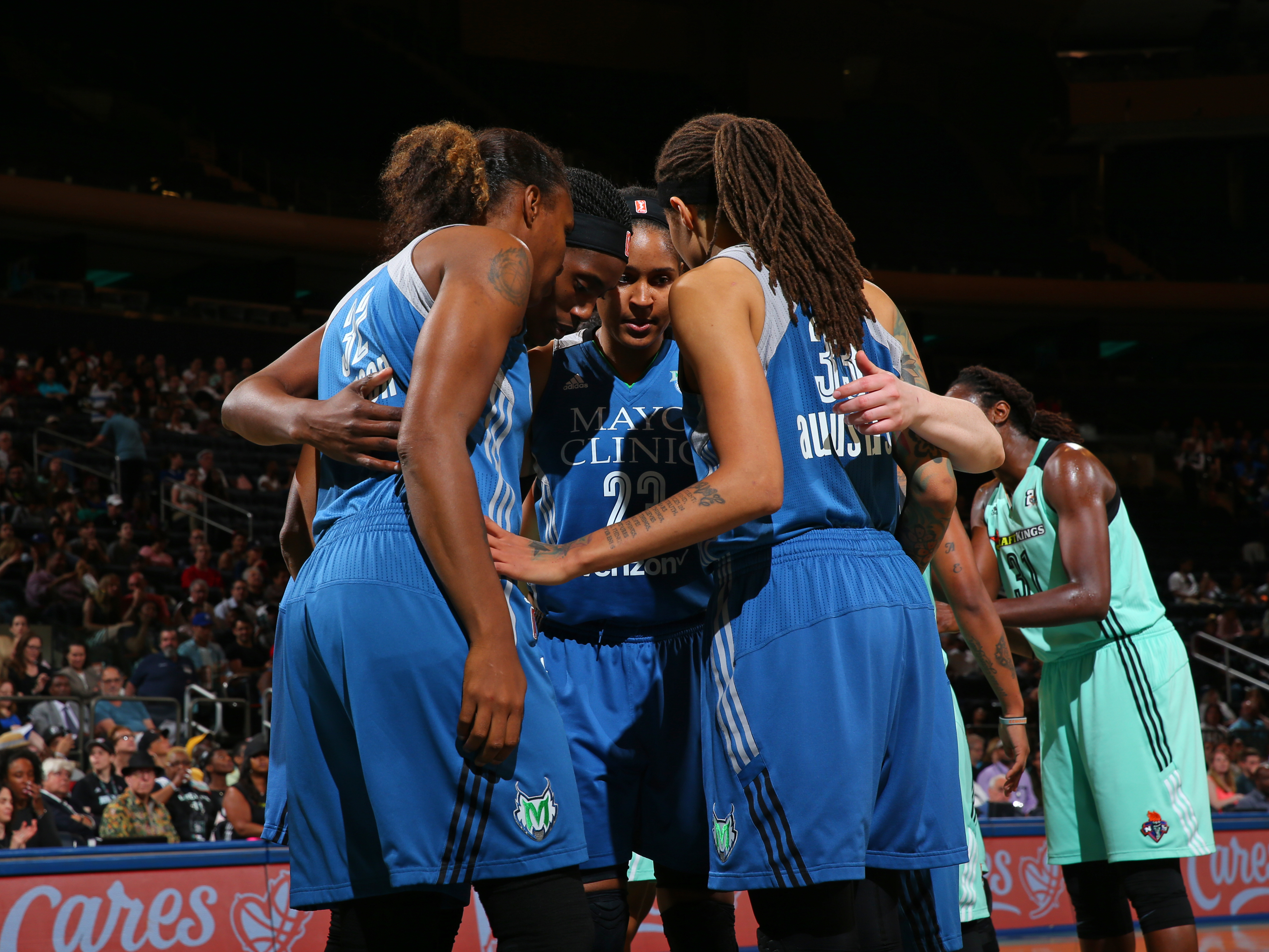 NEW YORK, NY - MAY 31:  The Minnesota Lynx huddle during the game against the New York Liberty during the game on May 31, 2016 at Madison Square Garden in New York, New York. NOTE TO USER: User expressly acknowledges and agrees that, by downloading and or using this Photograph, user is consenting to the terms and conditions of the Getty Images License Agreement. Mandatory Copyright Notice: Copyright 2016 NBAE (Photo by Mike Stobe/NBAE via Getty Images)